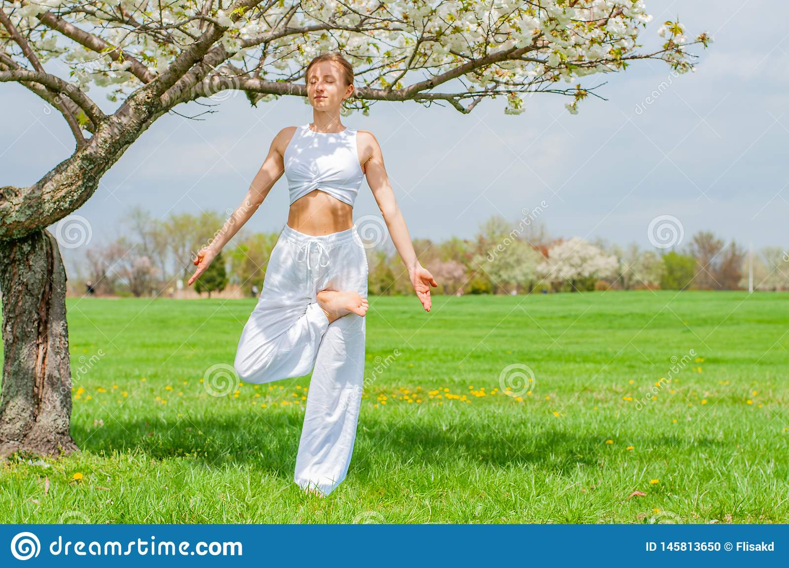 Beautiful young woman is practicing yoga near blossom tree at the park