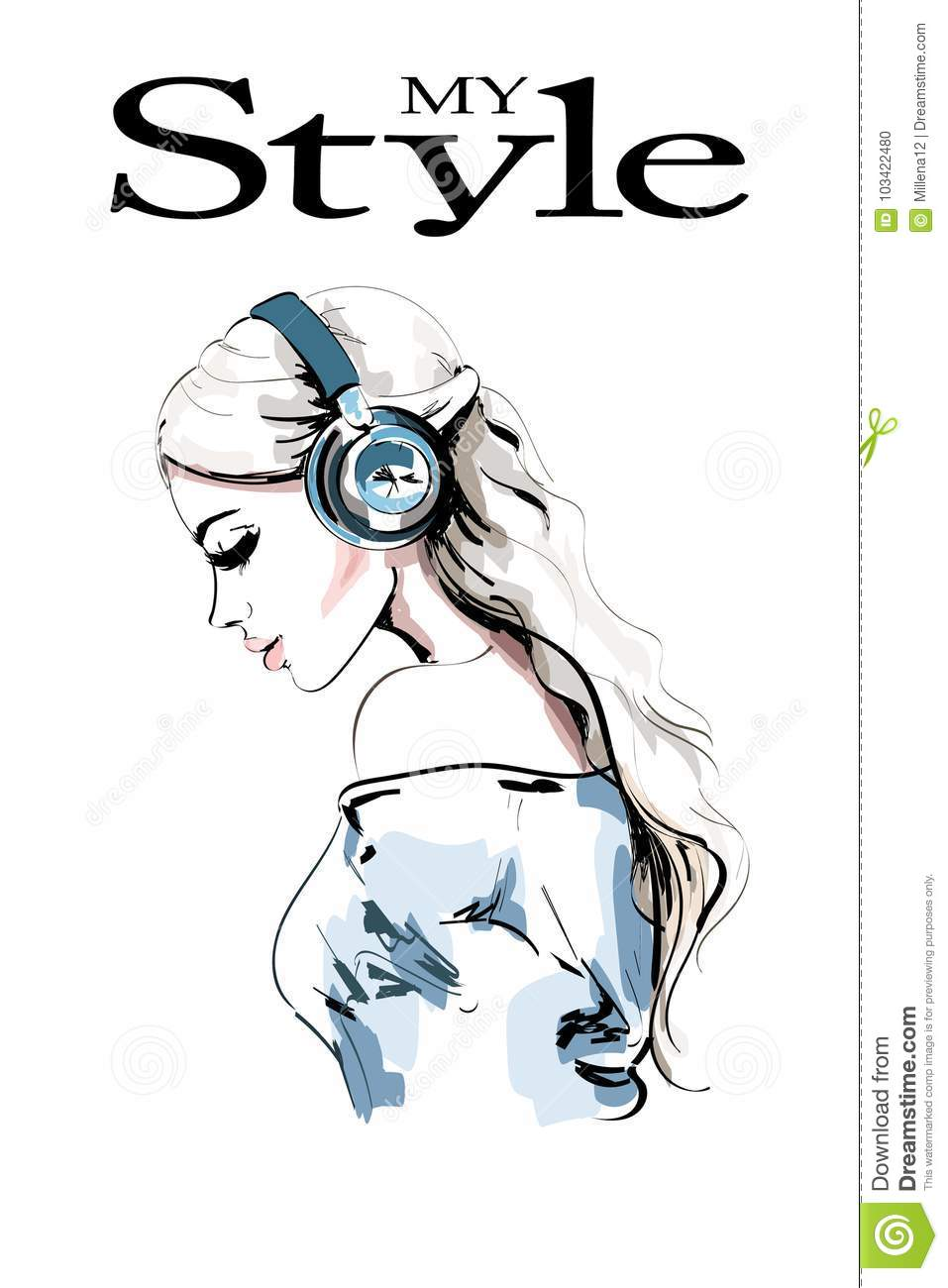 Beautiful young woman profile. Hand drawn woman portrait. Fashion girl in headphones. Sketch.