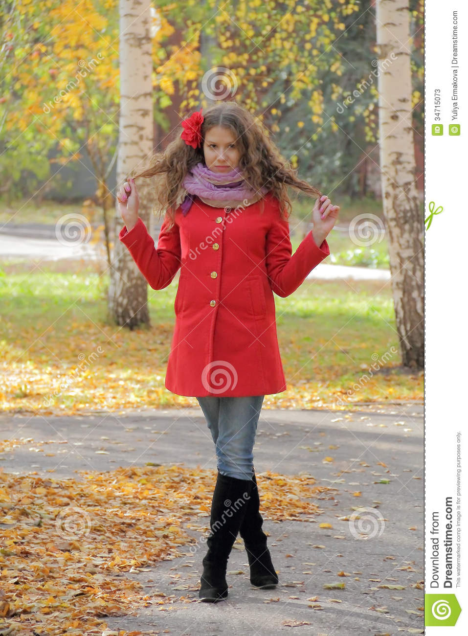 Beautiful Young Woman In Red Coat Stock Photos - Image: 34715073