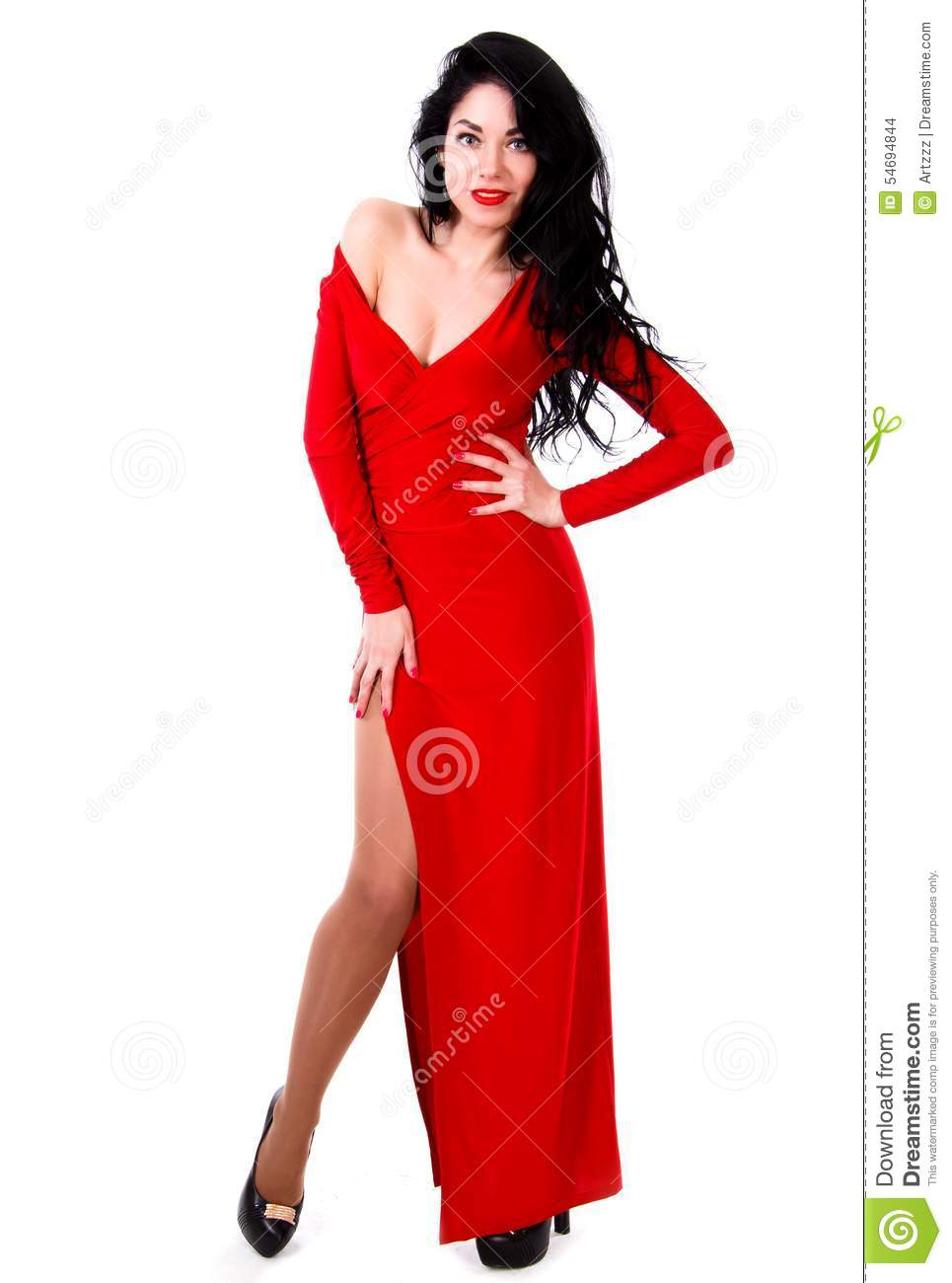 Beautiful Young Woman In A Red Evening Dress Stock Photo - Image of ...
