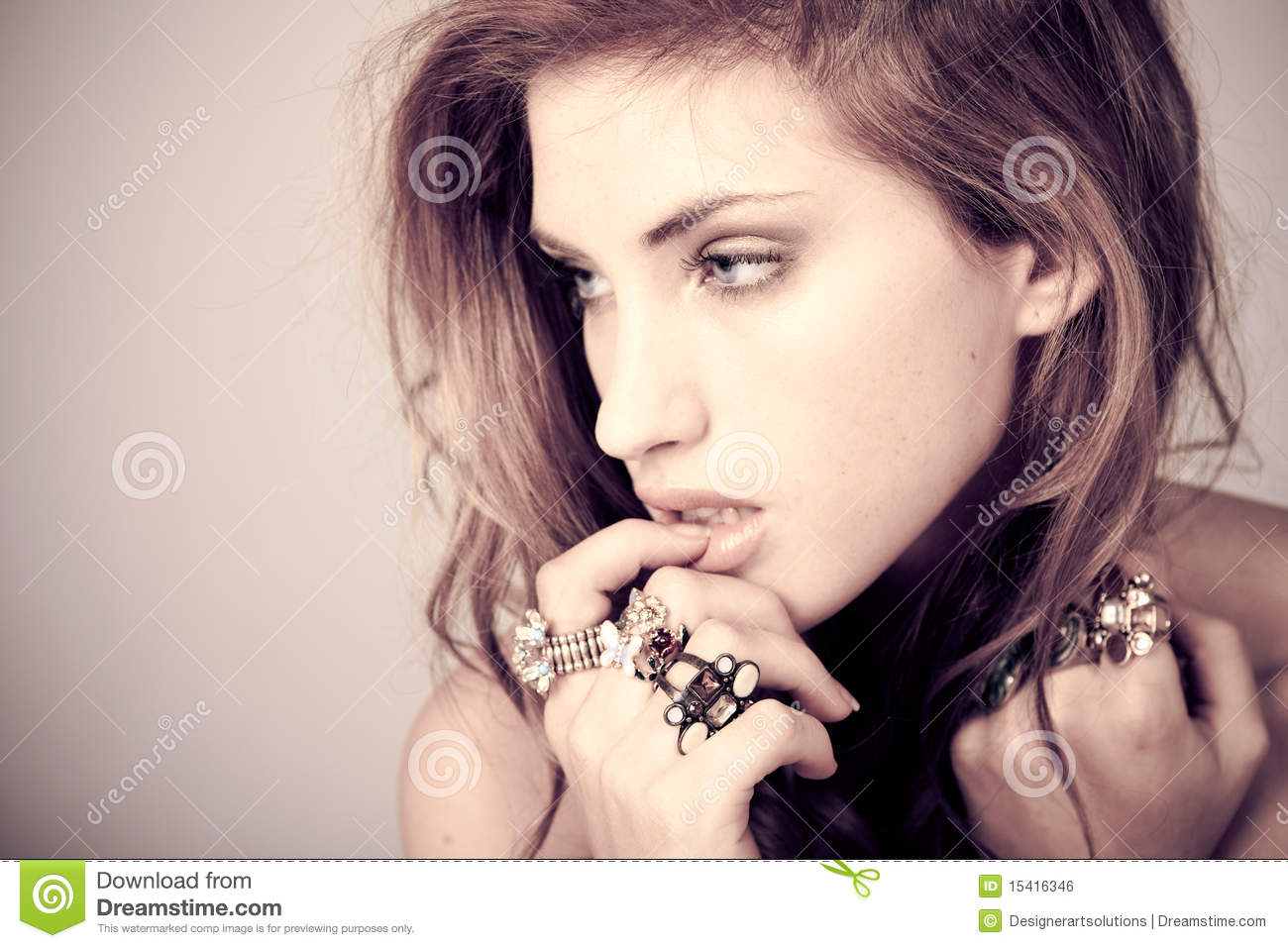 Beautiful Young Woman with Rings