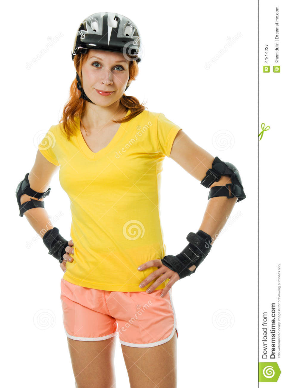 Beautiful Young Woman On Roller Skates Royalty Free Stock Photography ...