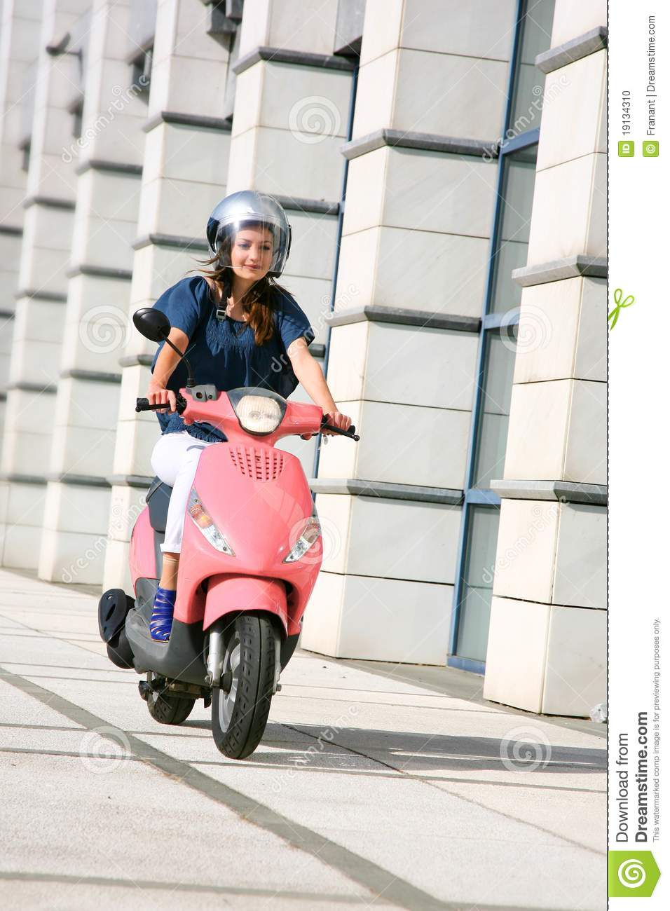 Beautiful Young Woman On Scooter Stock Photo Image 19134310
