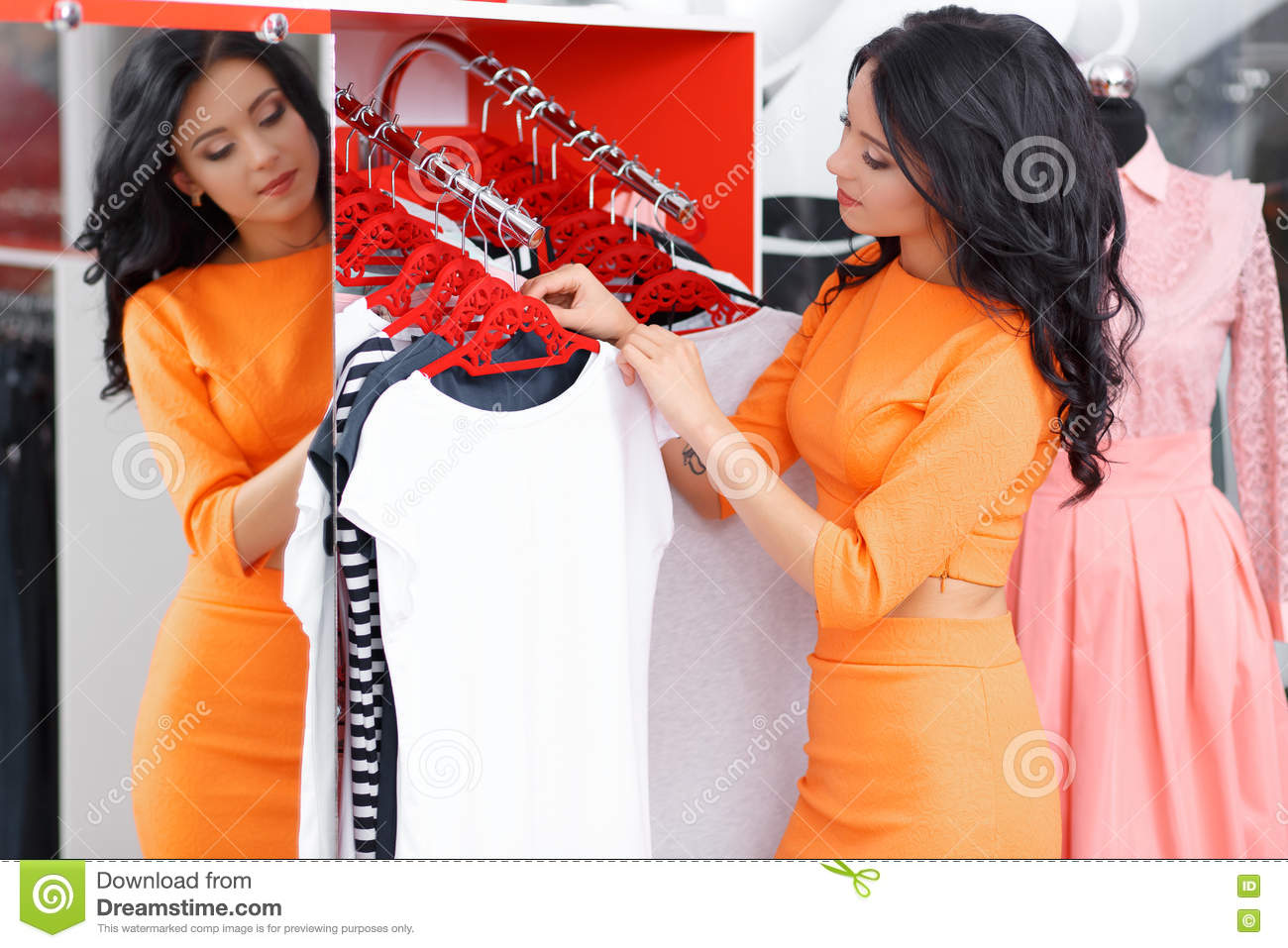 ed7c10c520fa1 Beautiful Young Woman Shopping In A Clothing Store Stock Image ...