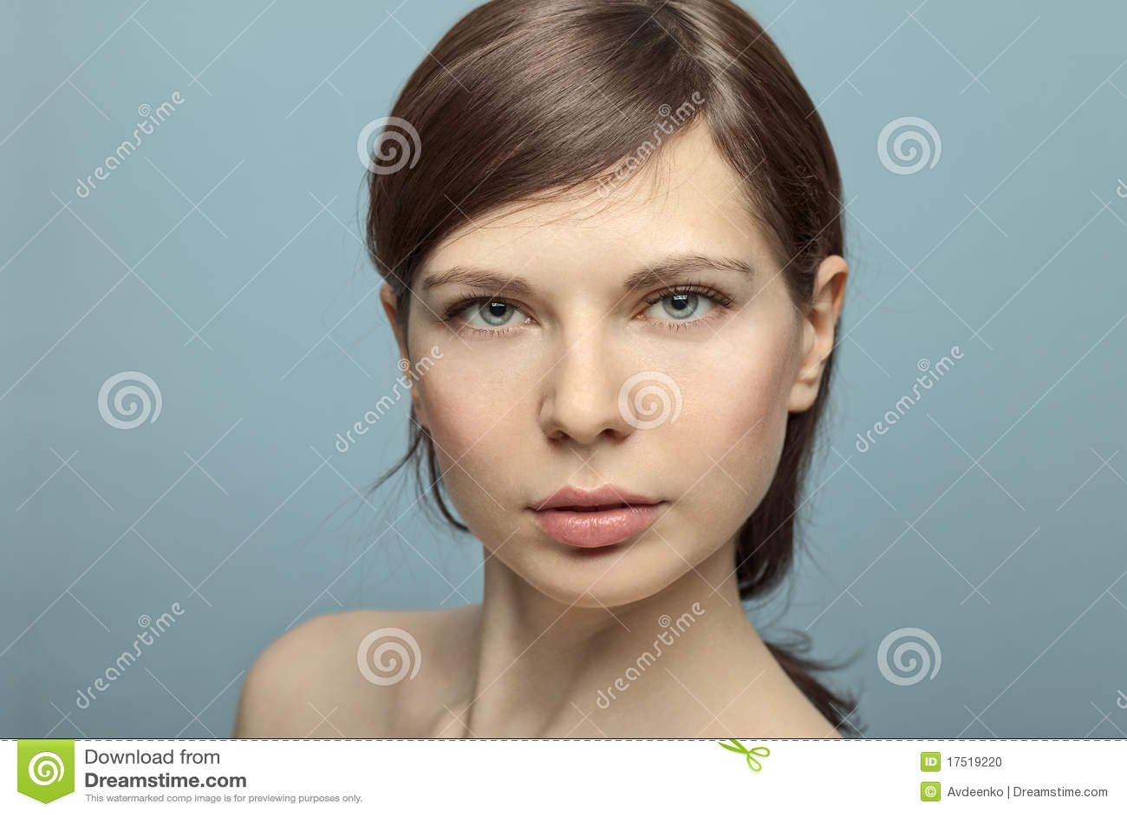 Beautiful Young Woman Shot In Studio No Makeup. Stock ...