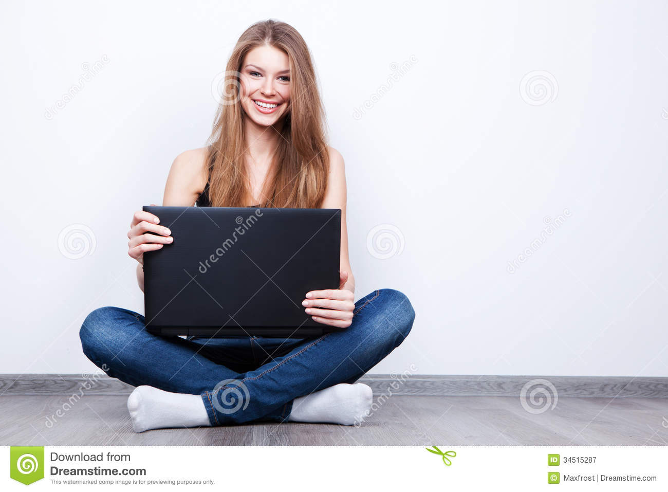 Royalty free stock photography beautiful young woman for On the floor