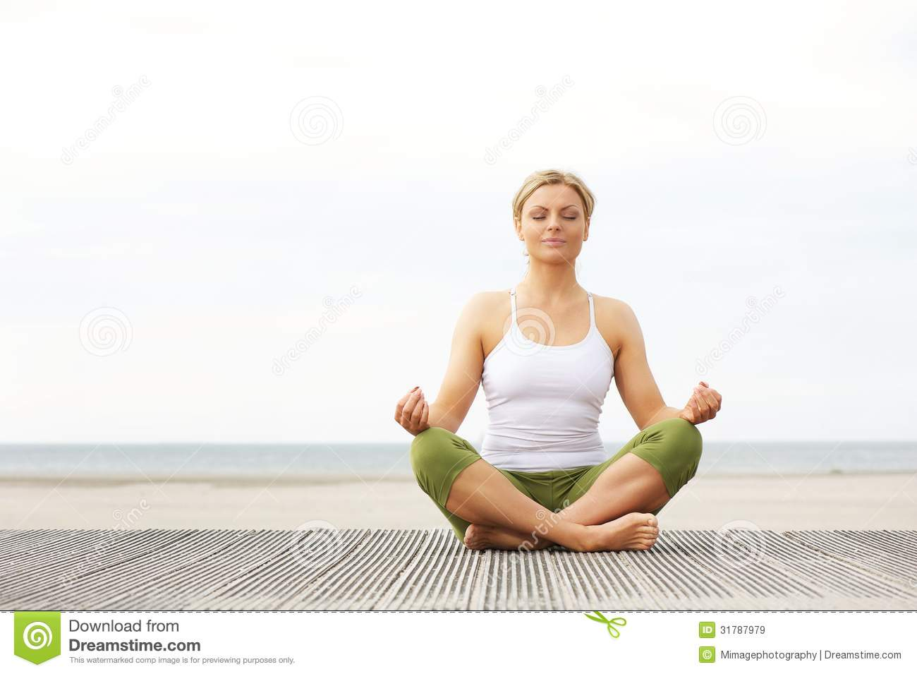 Beautiful Young Woman Sitting In Yoga Pose At The Beach Stock Image Image Of Beautiful Female 31787979