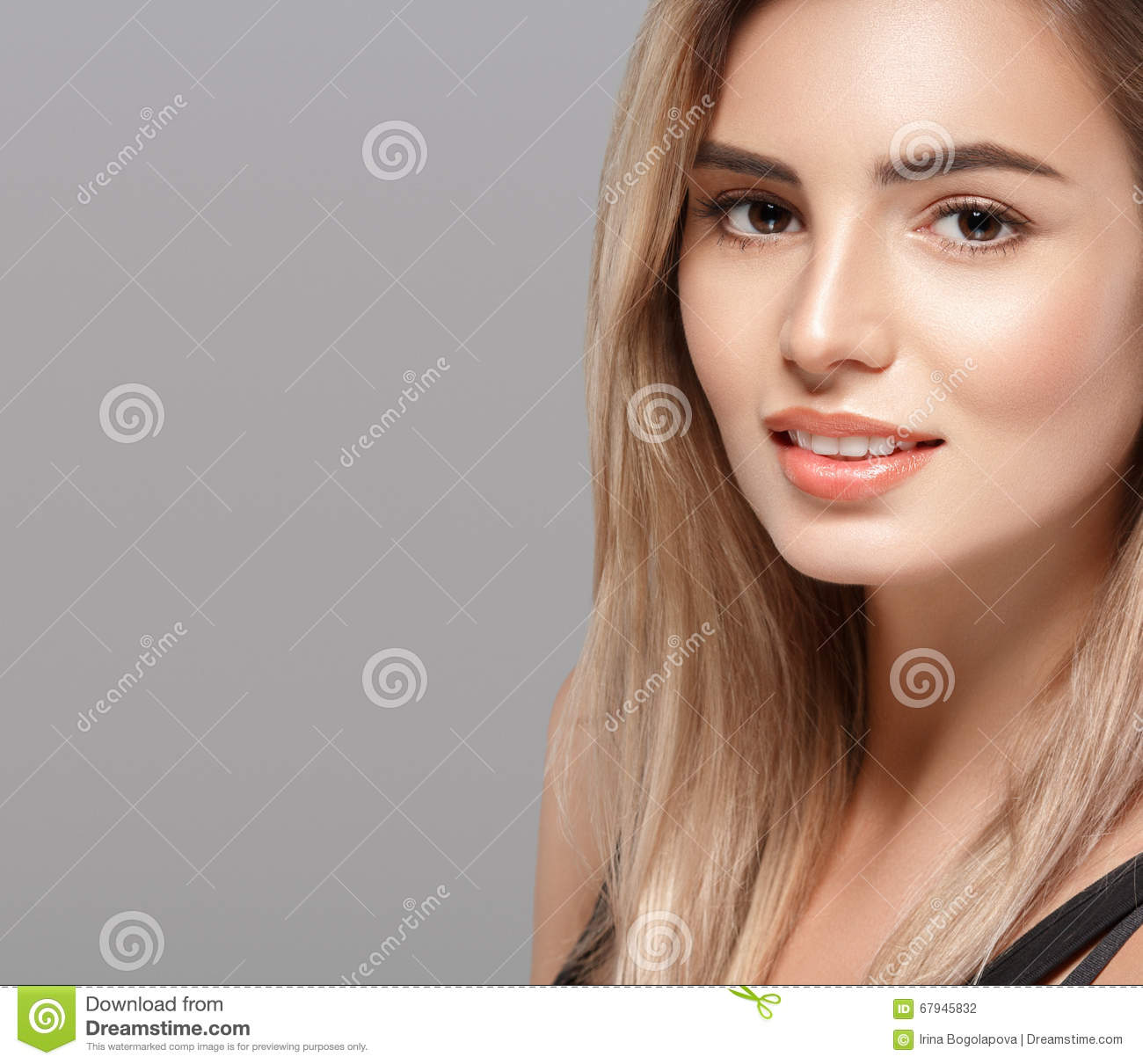 Beautiful Young Woman Smiling Posing With Blond Hair On