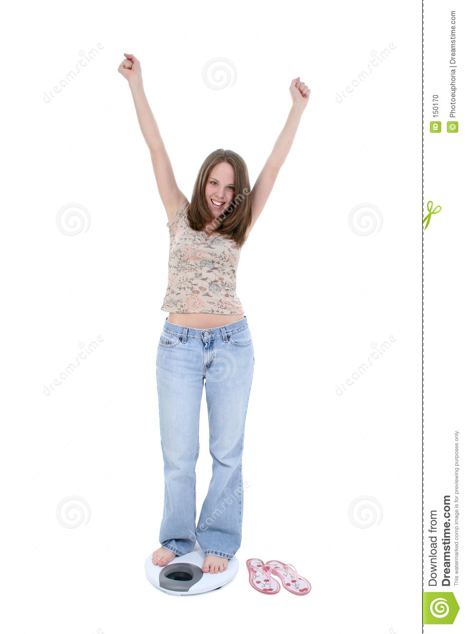 Beautiful Young Woman Standing On Bathroom Scale
