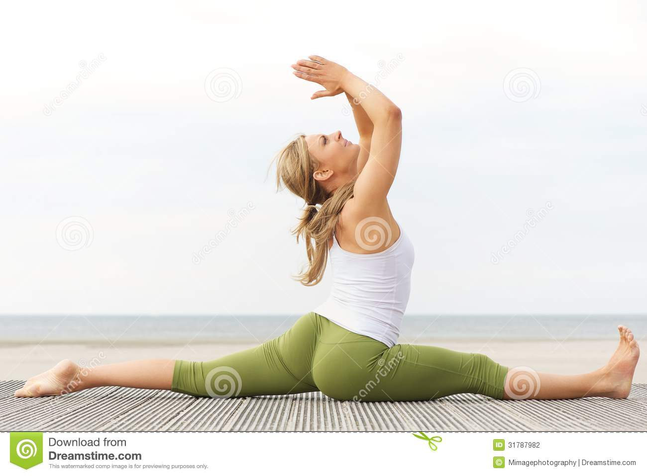 Beautiful Young Woman Stretching Yoga Pose At Beach Stock Photo Image Of Body Hands 31787982