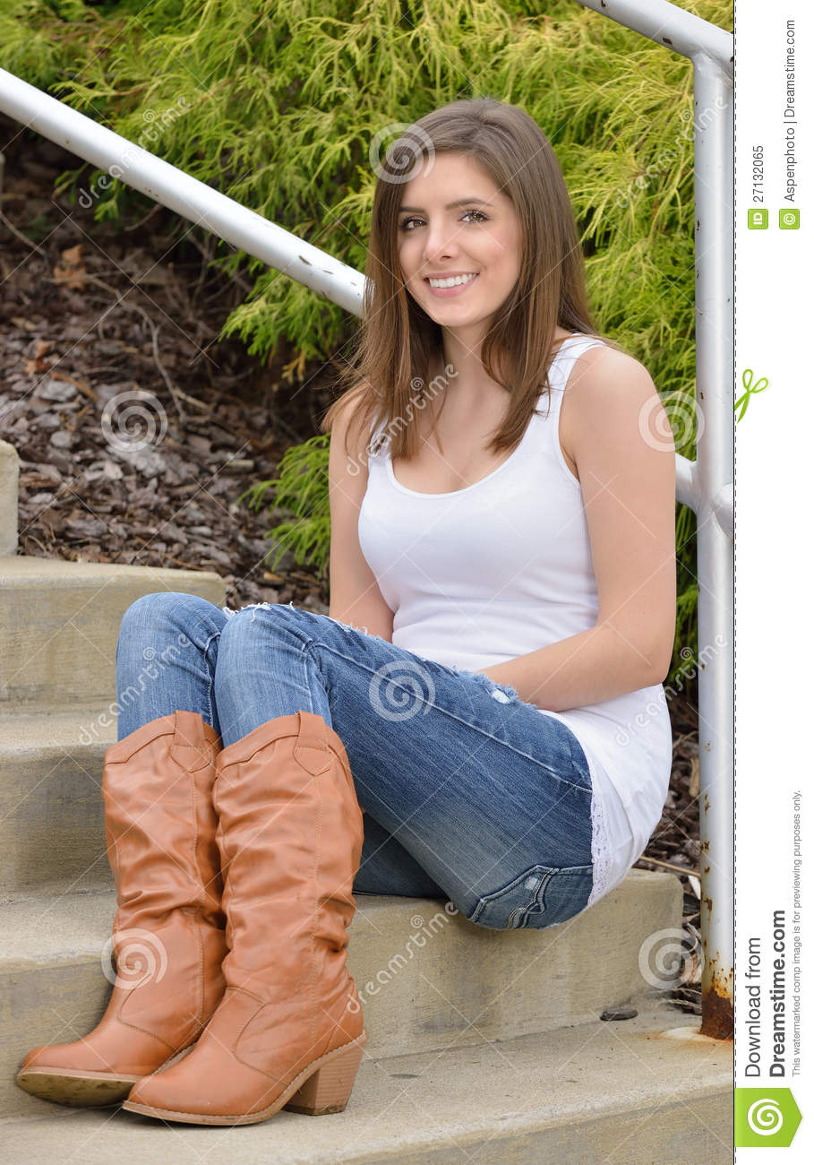 Beautiful Young Woman In Tank Top And Jeans Stock Image - Image of door woman 27132065