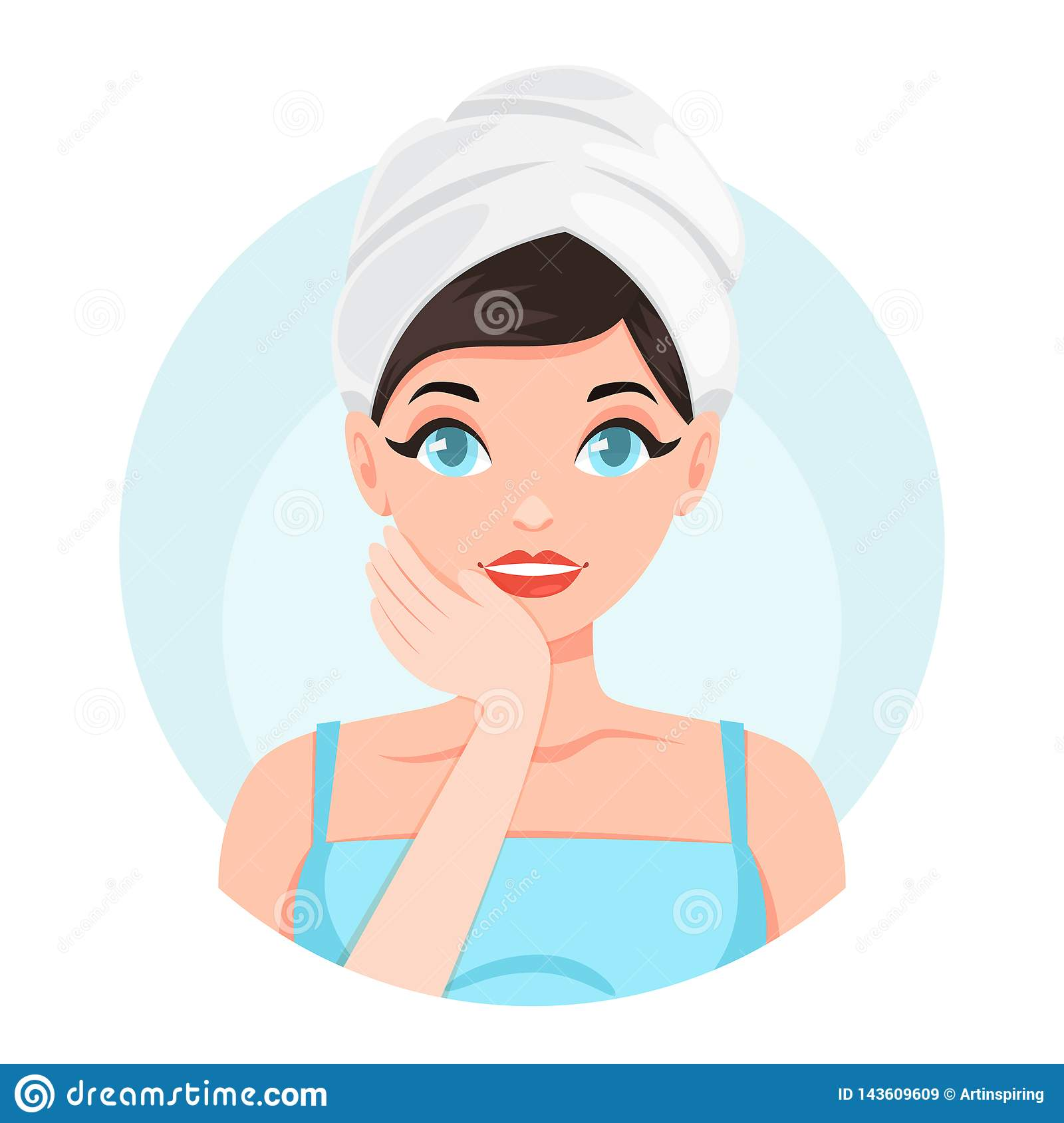 Face Towel Dream Meaning: Beautiful Young Woman In Towel With A Clean Stock Vector