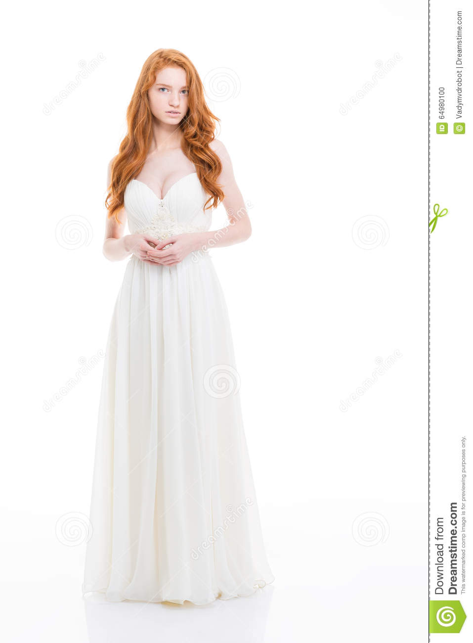 Beautiful Young Woman With Wavy Long Hair In Wedding Dress Stock ...