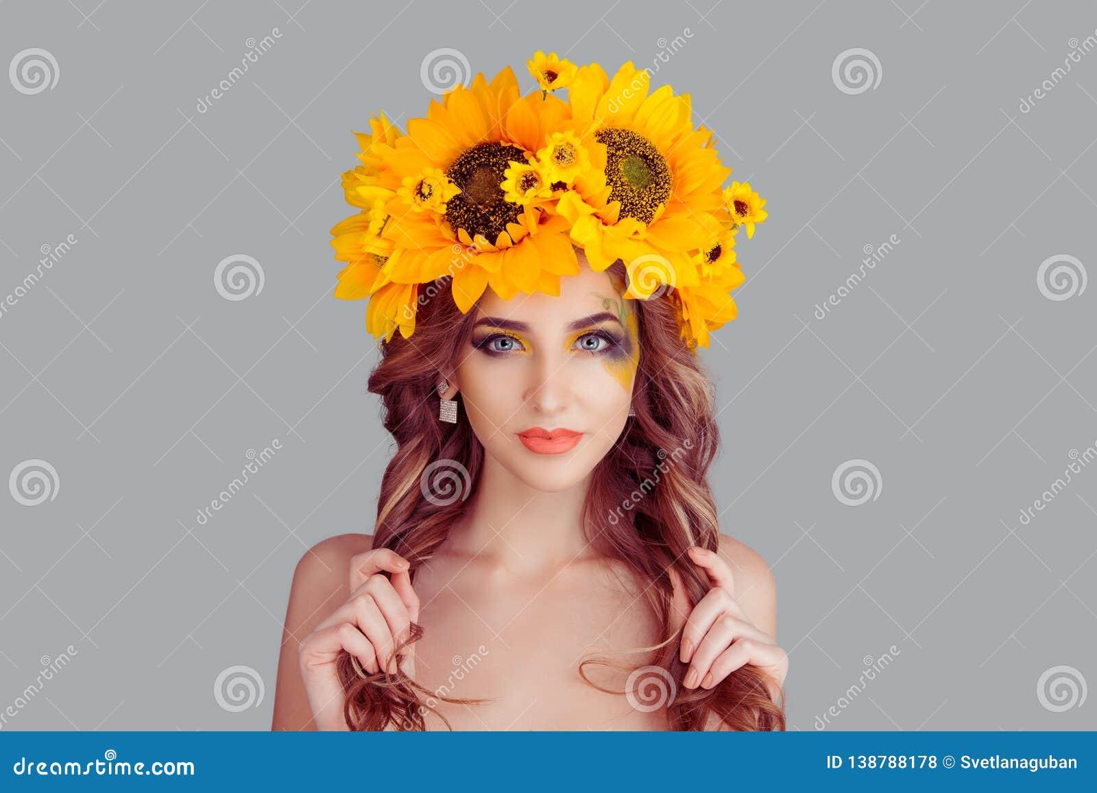 Beautiful young woman wearing floral headband