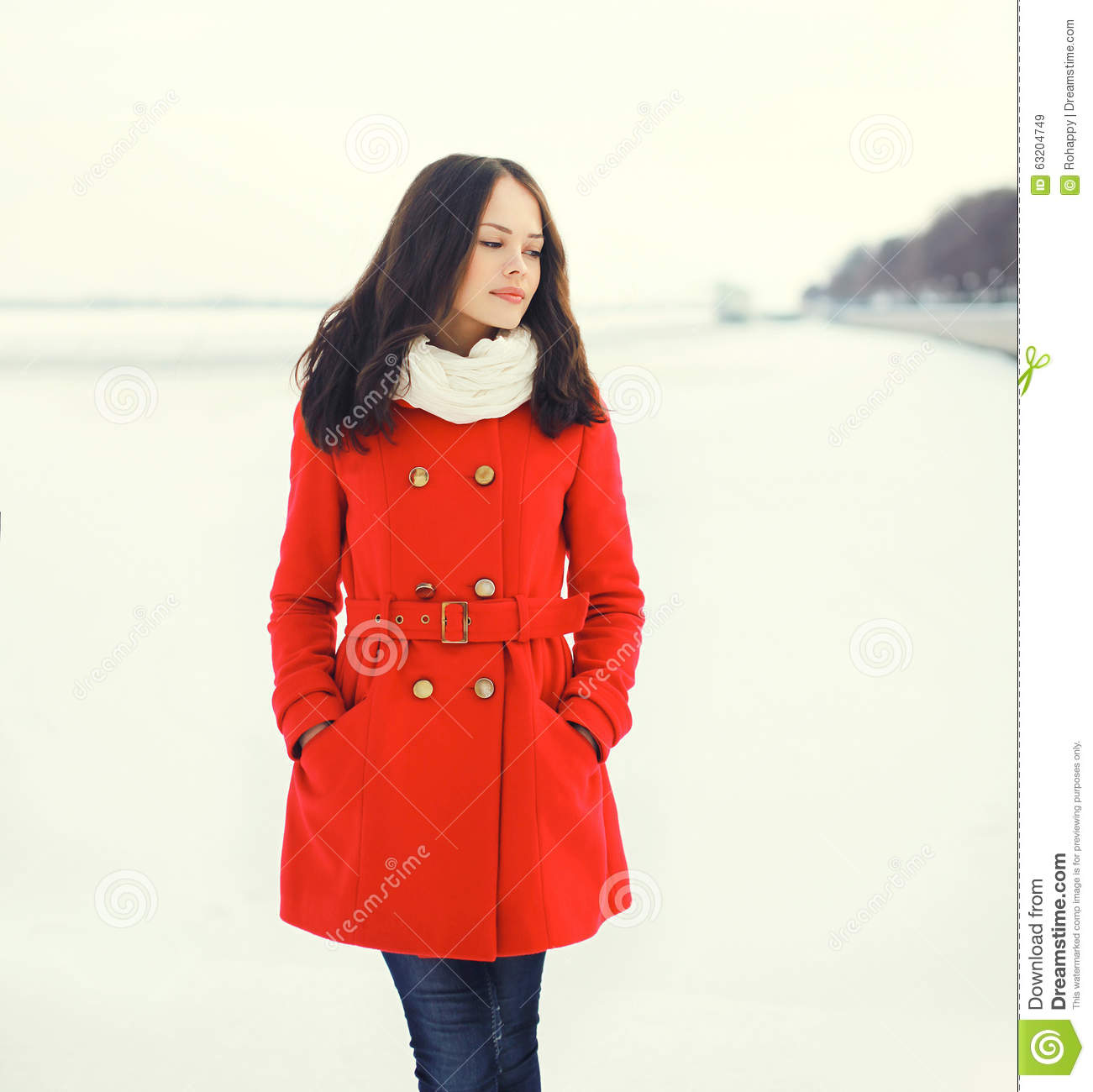 1cbed293e Beautiful Young Woman Wearing A Red Coat And Scarf Over Snow In ...