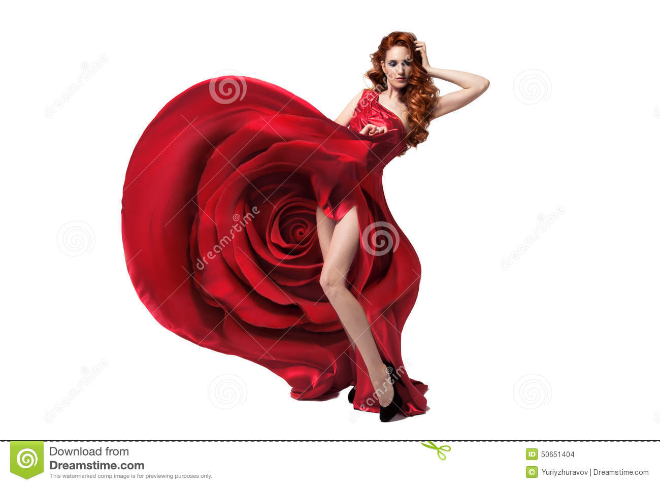 Beautiful Young Woman Wearing Red Rose Dress. Isolated. Stock ...