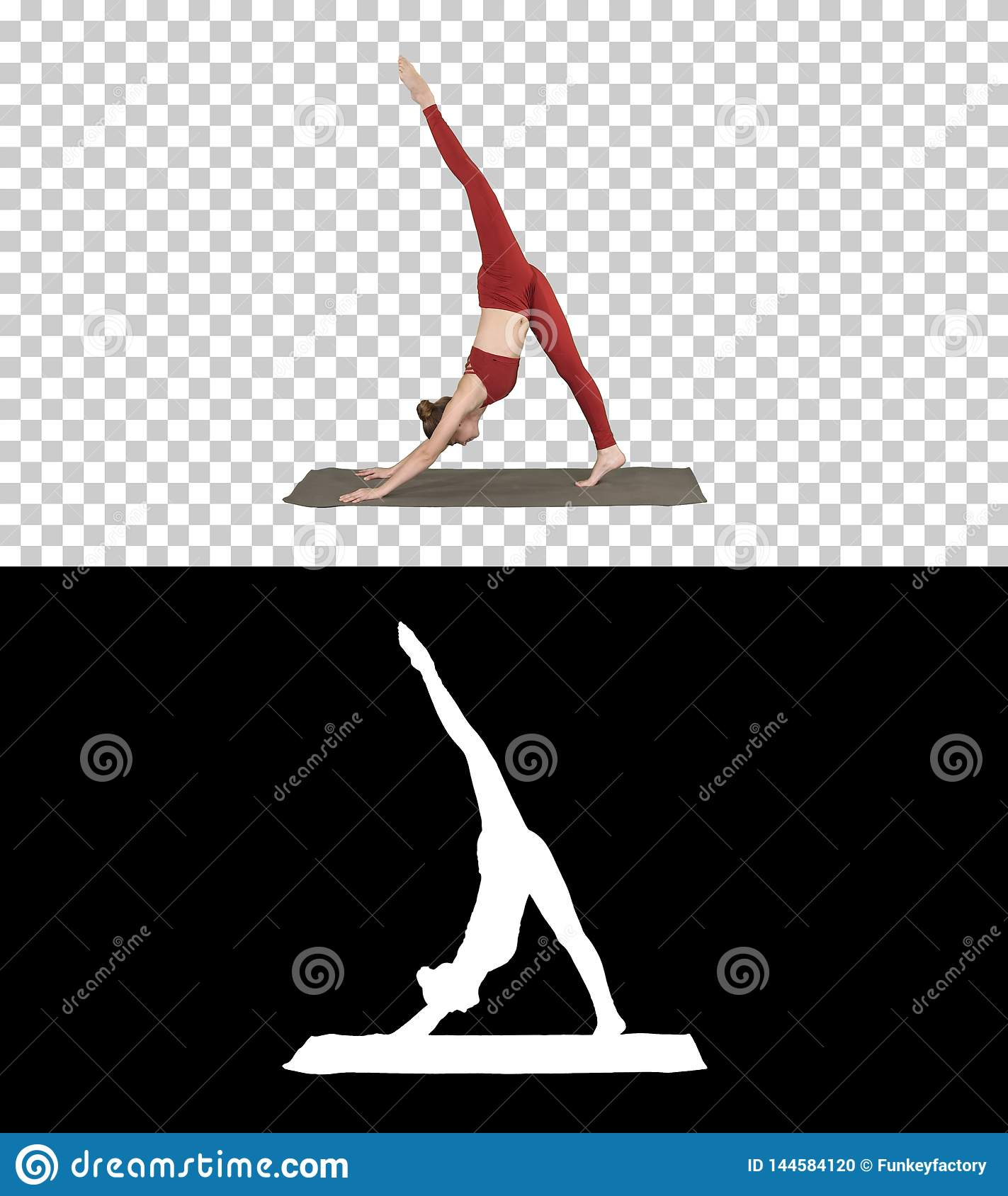 Beautiful young woman wearing red sportswear doing yoga or pilates exercise Standing in variation of Natarajasana, Alpha