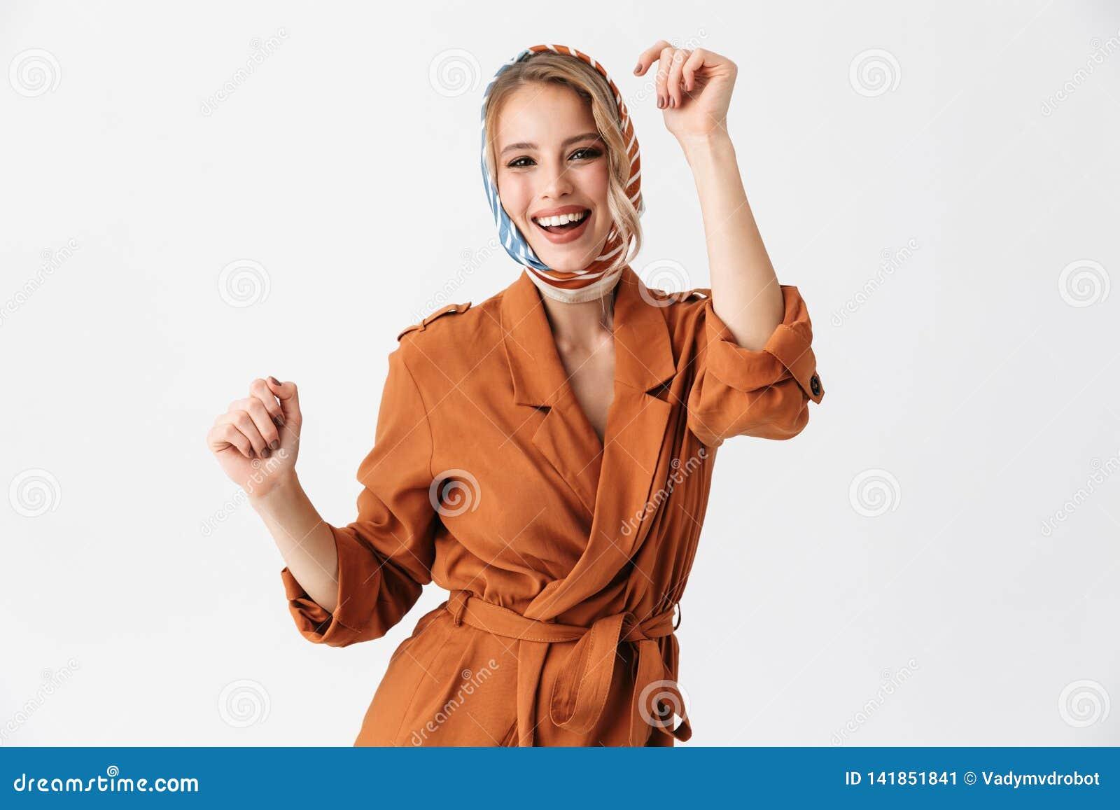 Beautiful Young Woman Wearing Silk Stylish Scarf Posing