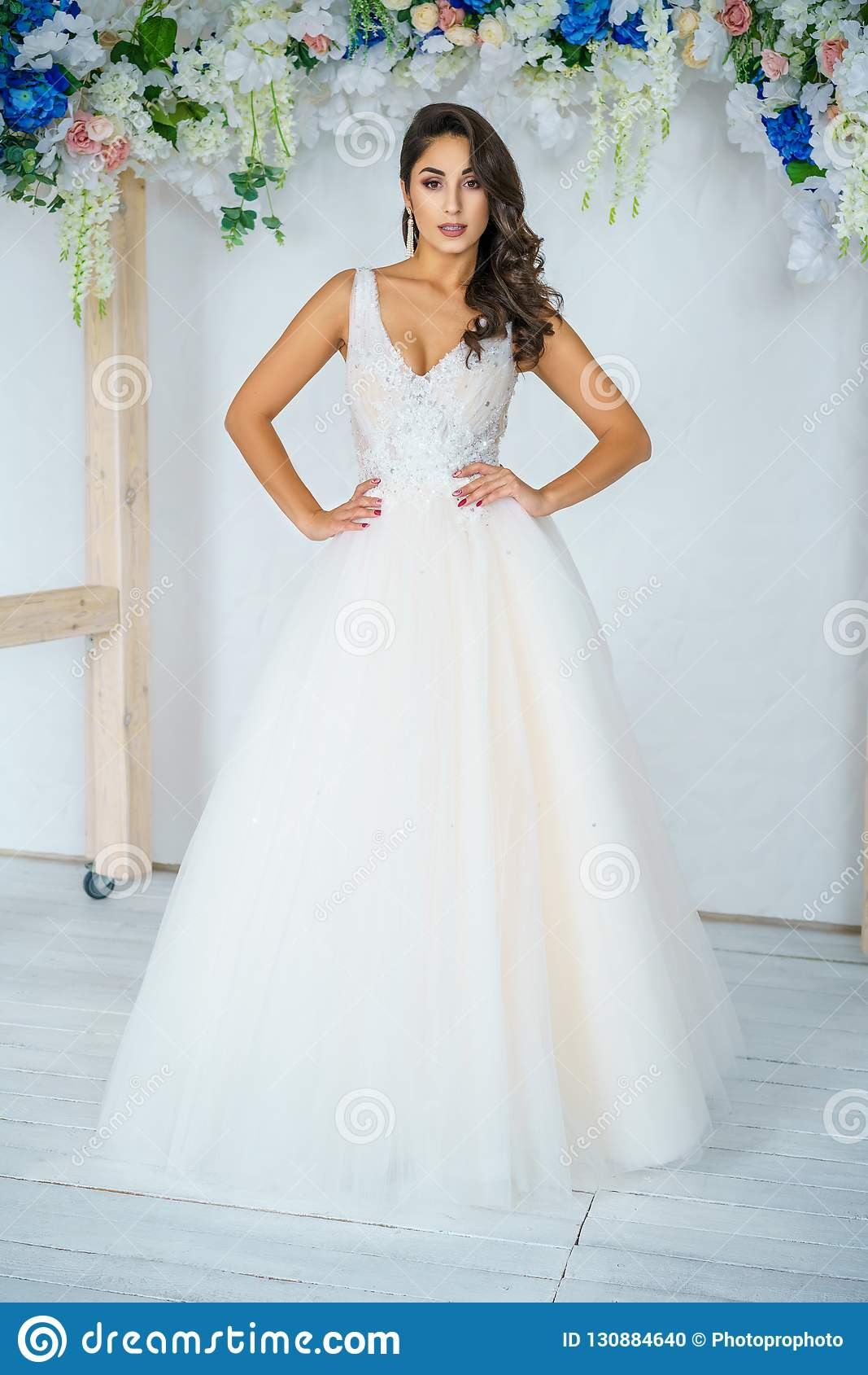 Beautiful Young Woman In Wedding Dress Beautiful Makeup And