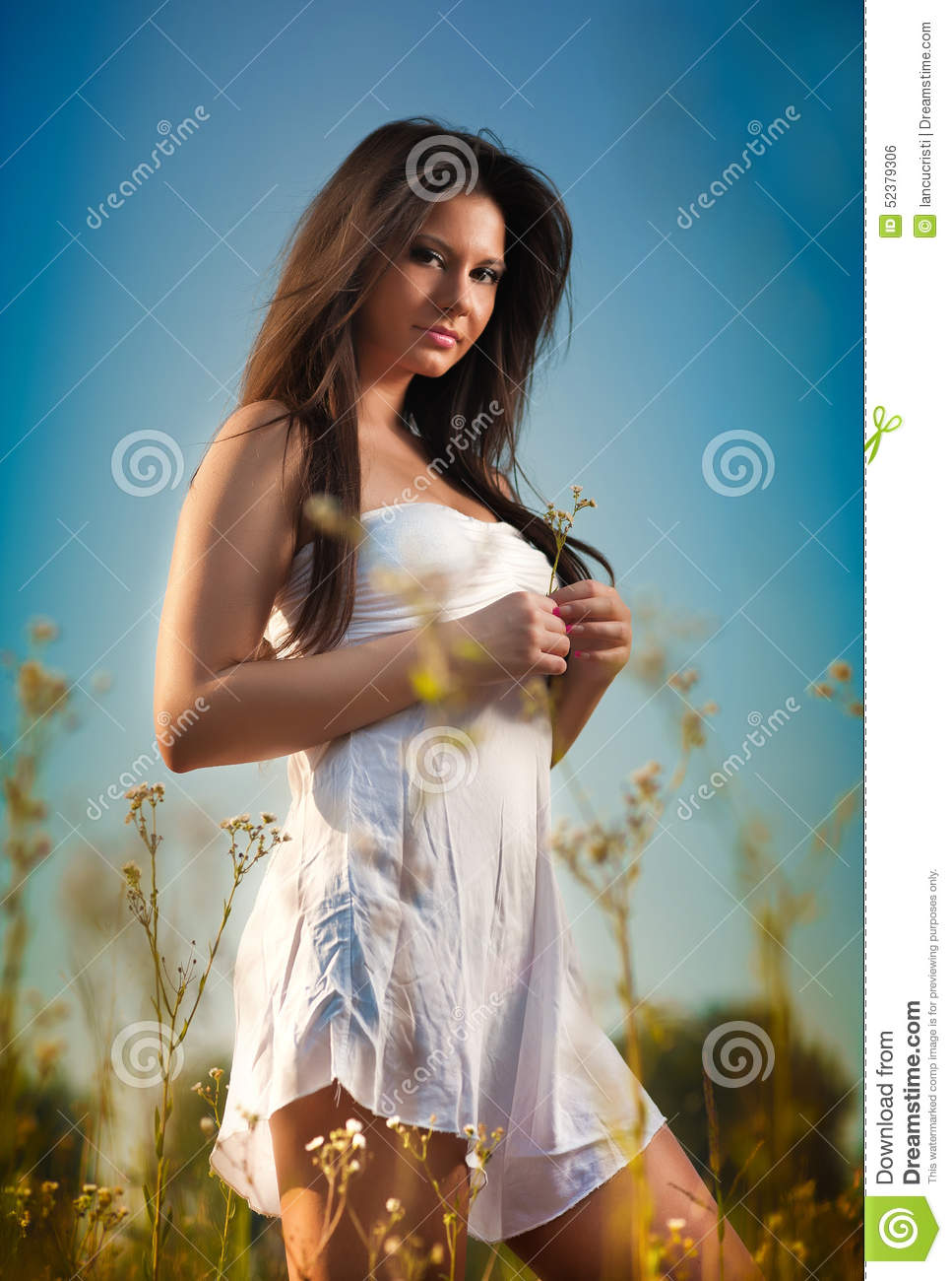 Beautiful Young Woman In Wild Flowers Field On Blue Sky