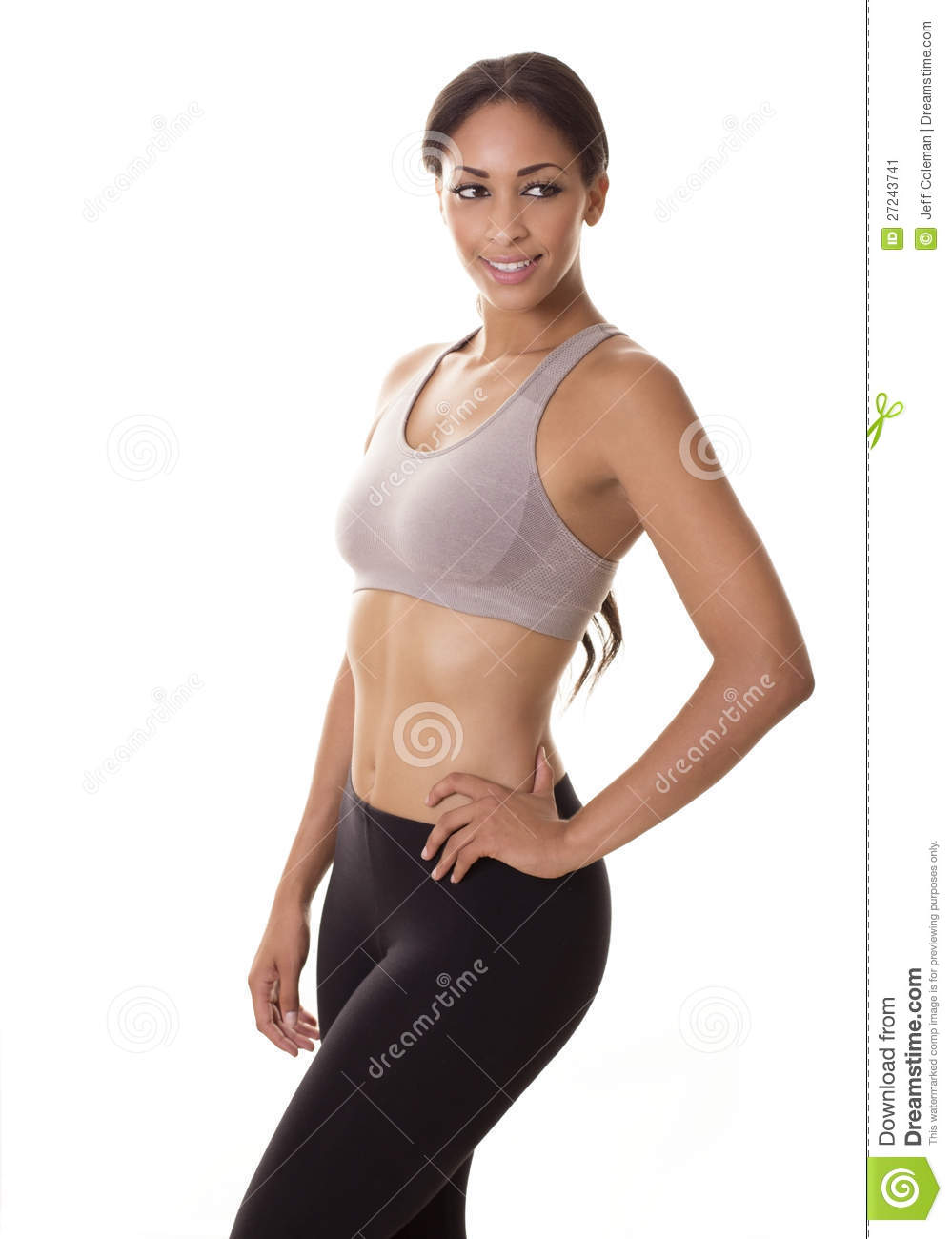 Beautiful Young Woman In Fitness Sports Bra Outfit Stock ...