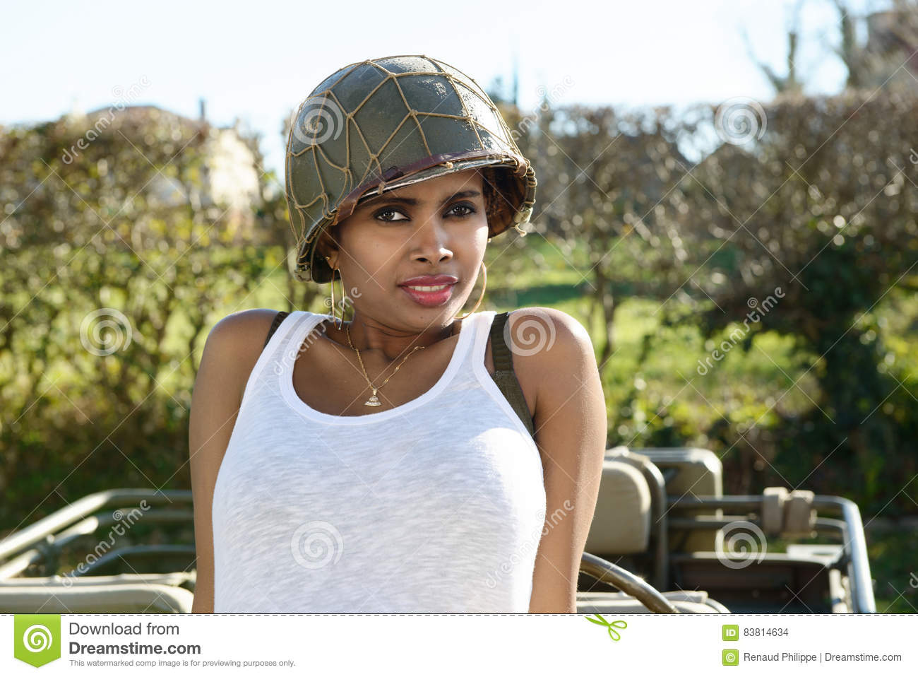 Beautiful Young Woman With Ww2 Military Helmet Stock Photo - Image