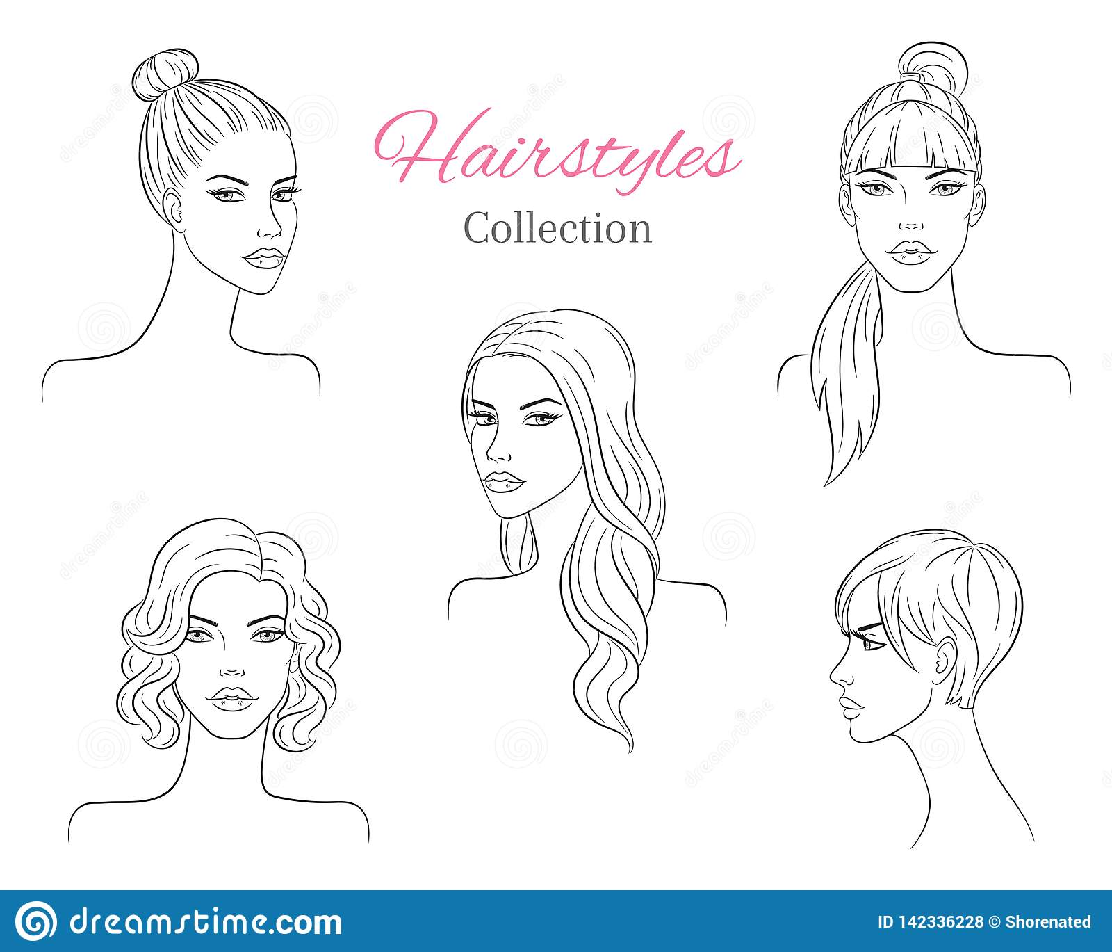 Beautiful young women with fashion trendy hairstyles fashion models with beautiful hair vector sketch illustration