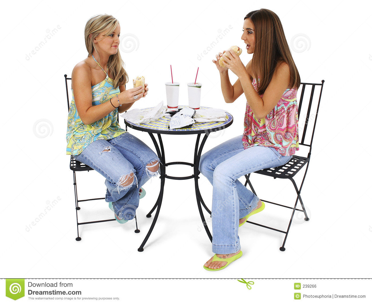 beautiful young women having lunch together 239266