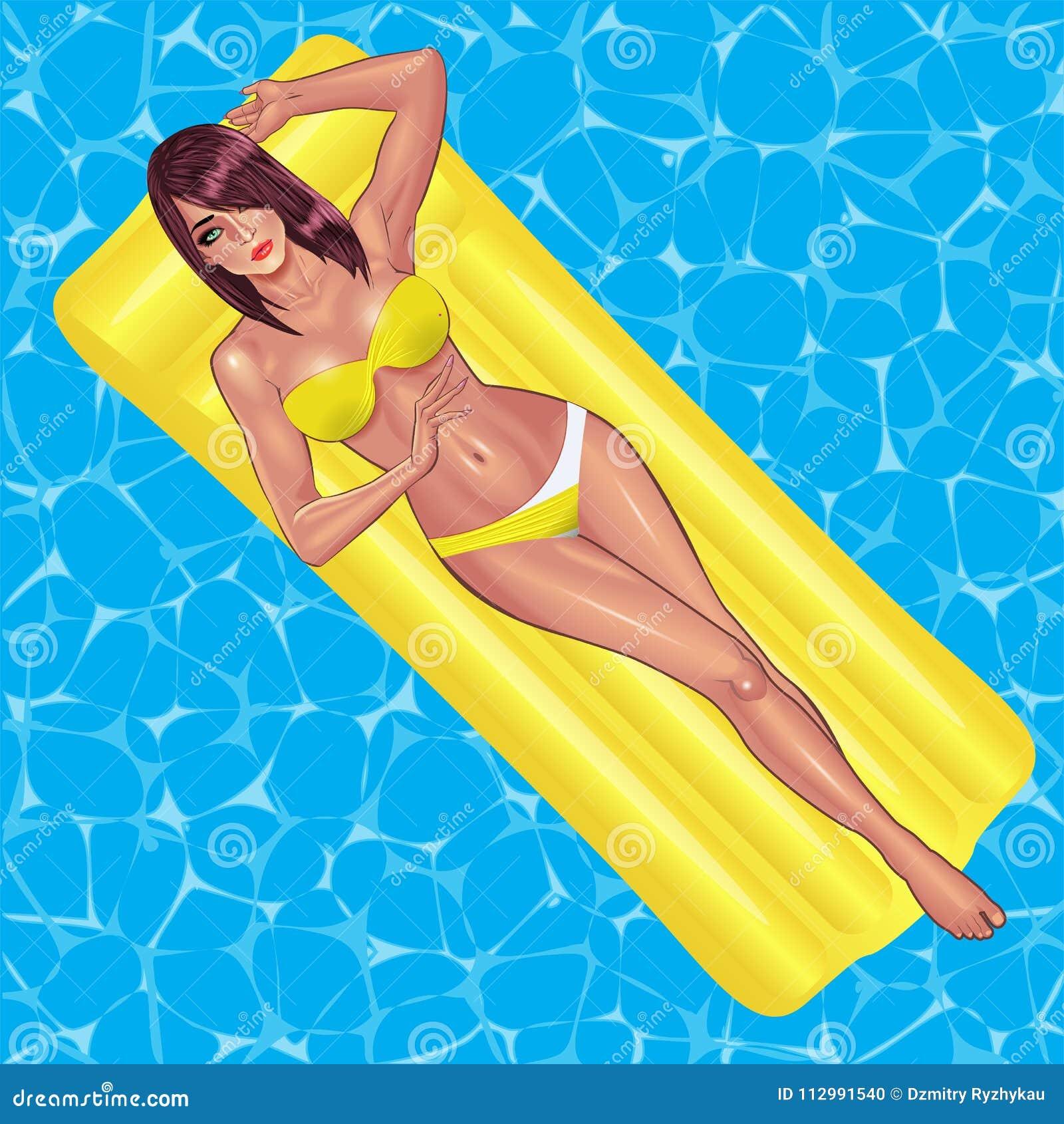 Beautiful young women in yellow bikini