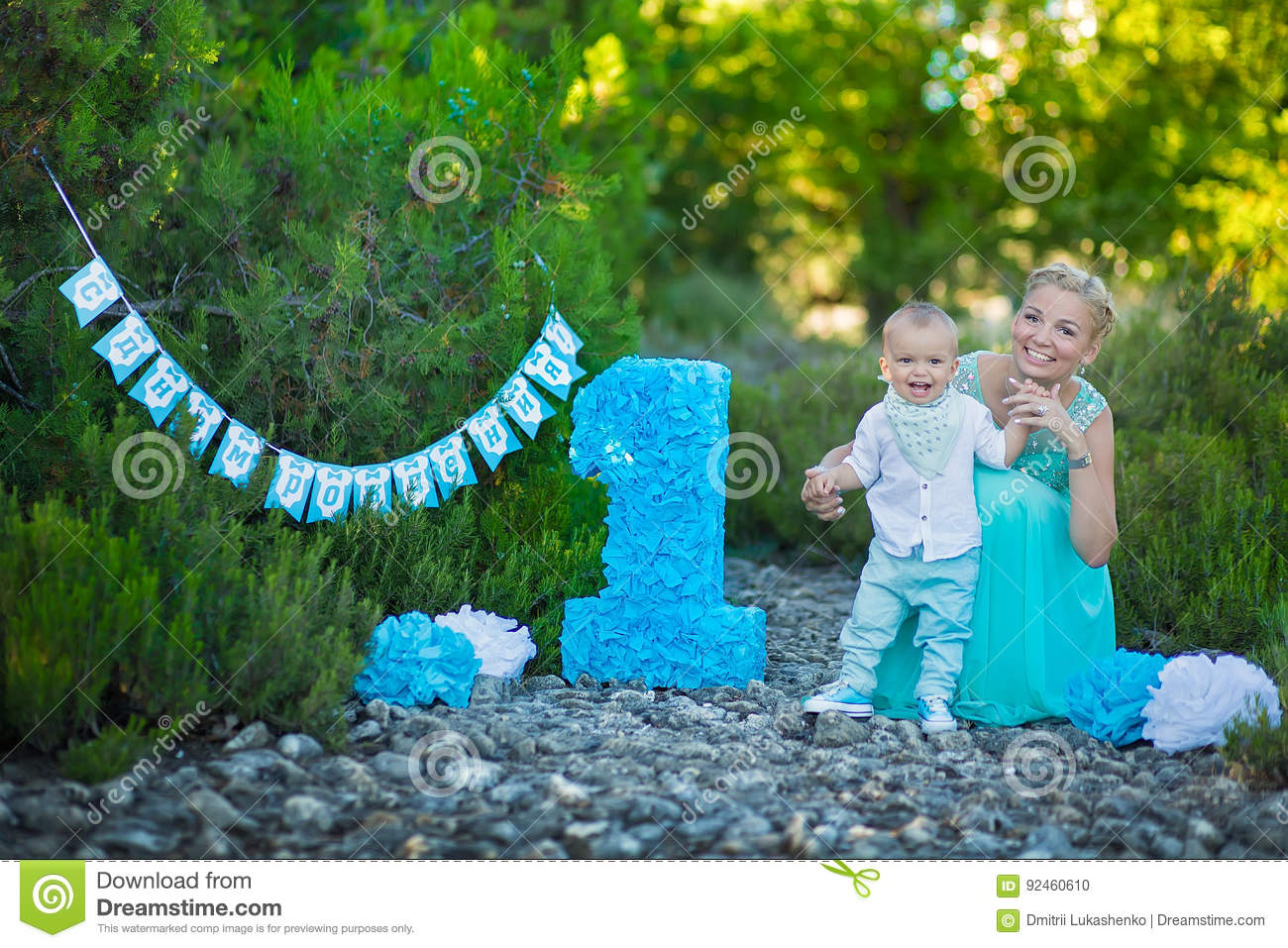 Download Beautifull Mother Lady Mom In Stylish Blue Dress Together With Her Son And Number One