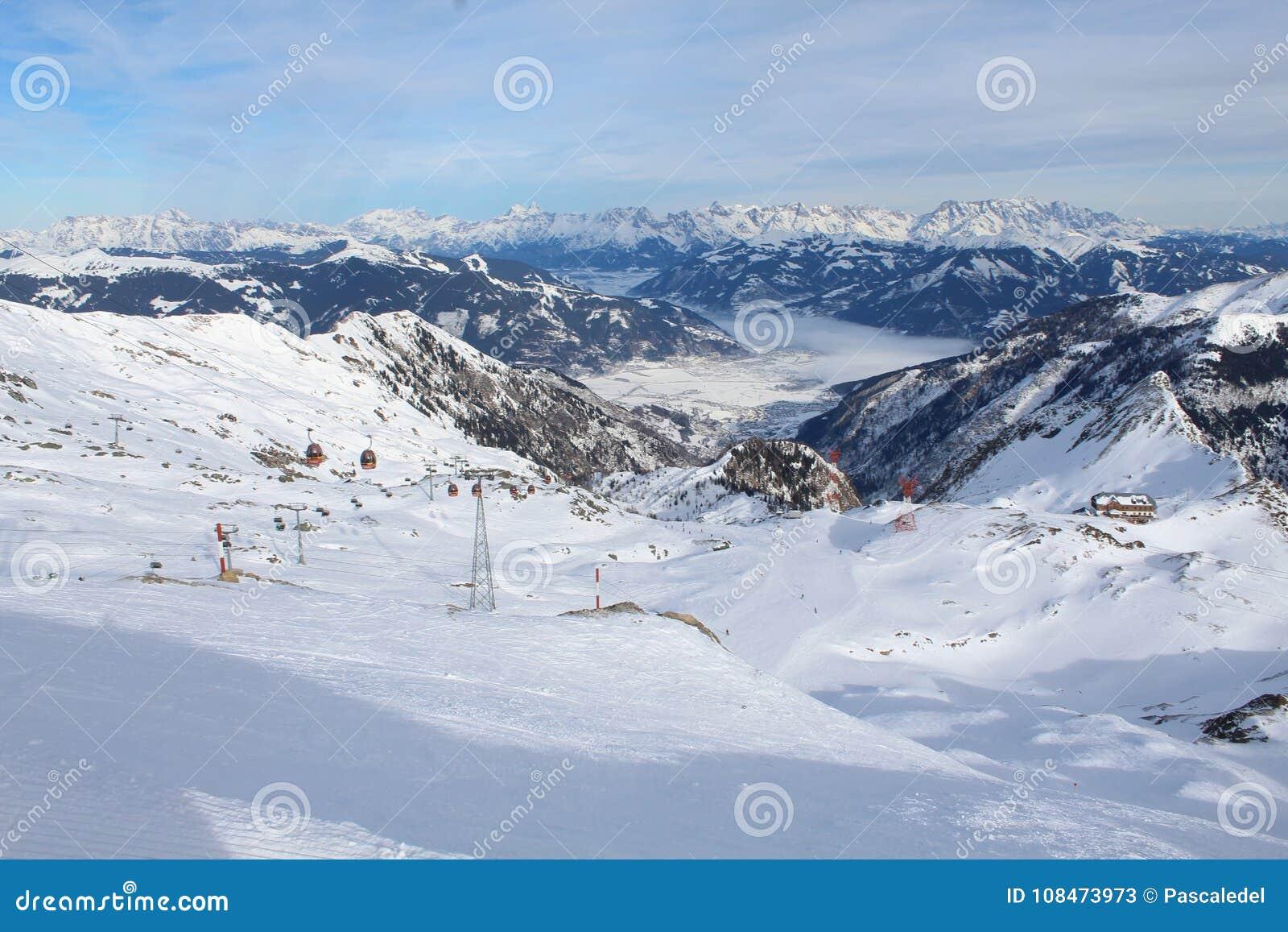 snowy mountain in kaprun stock image. image of beautifull - 108473973