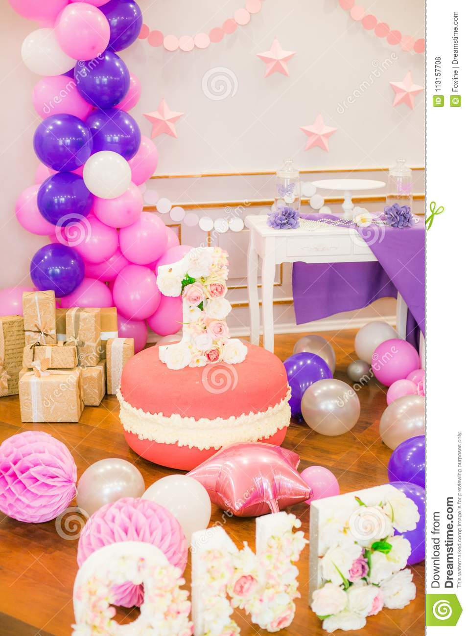 Candy Bar In Pink And Purple Colors For A Little Princess On Her 1st Birthday Beautifully Decorated Childrens Party With Balloons Flowers Sweets