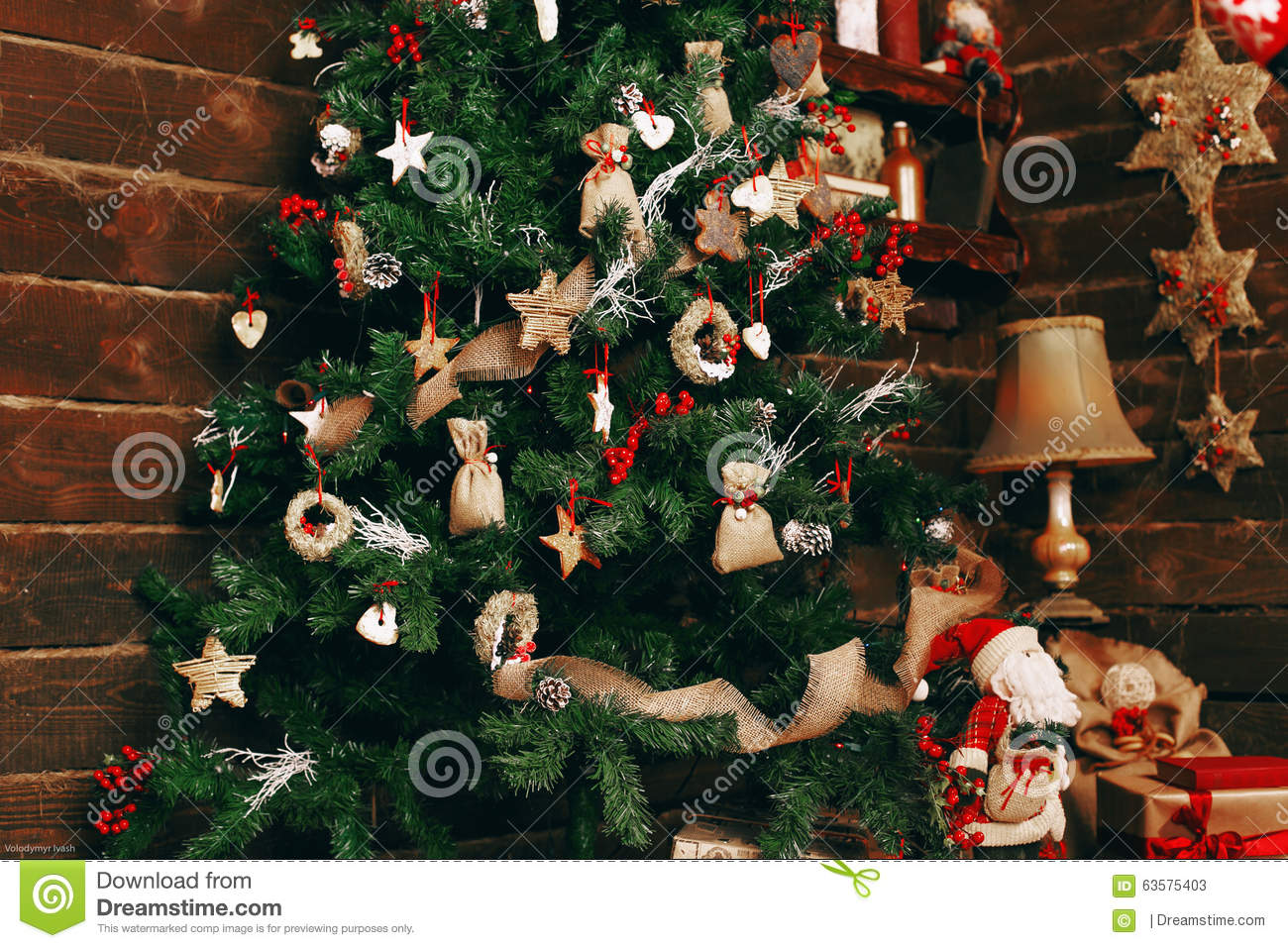 Beautifully Decorated Christmas Tree Stock Photo Image