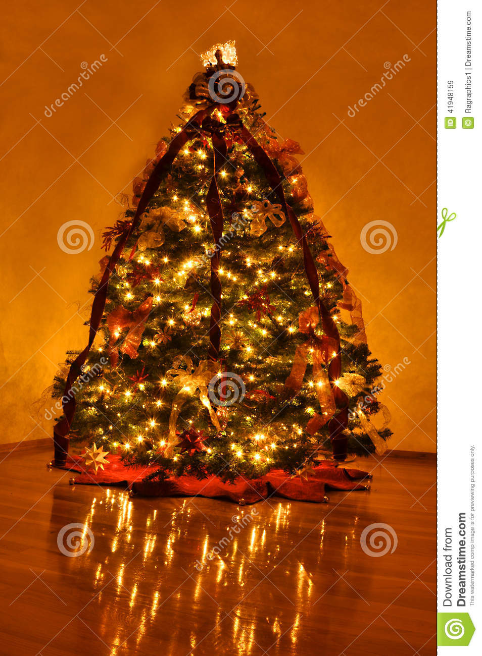 Beautifully Decorated Home Christmas Tree Stock Photo