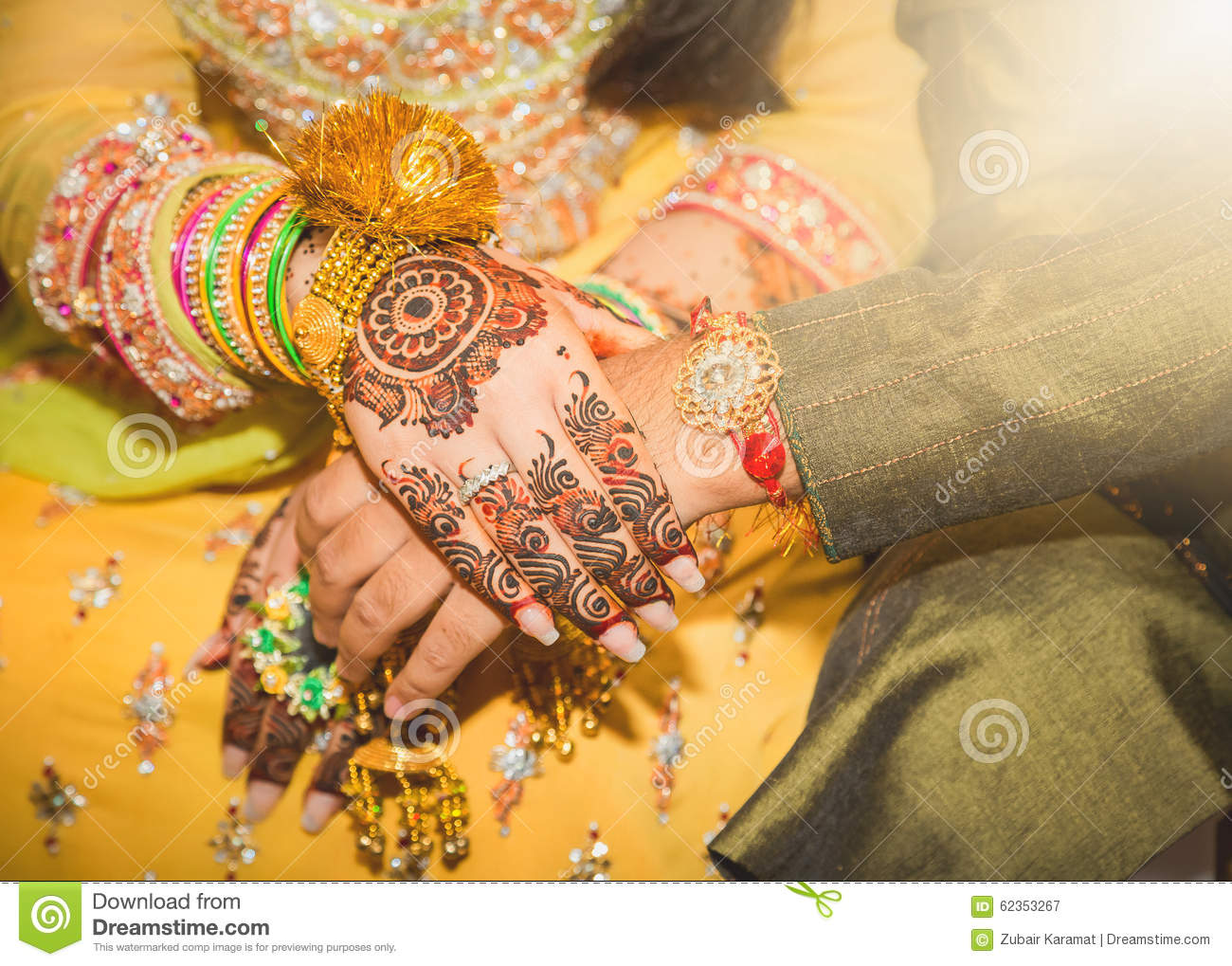 Beautifully Decorated Indian Bride Hands With The Groom. Stock ...