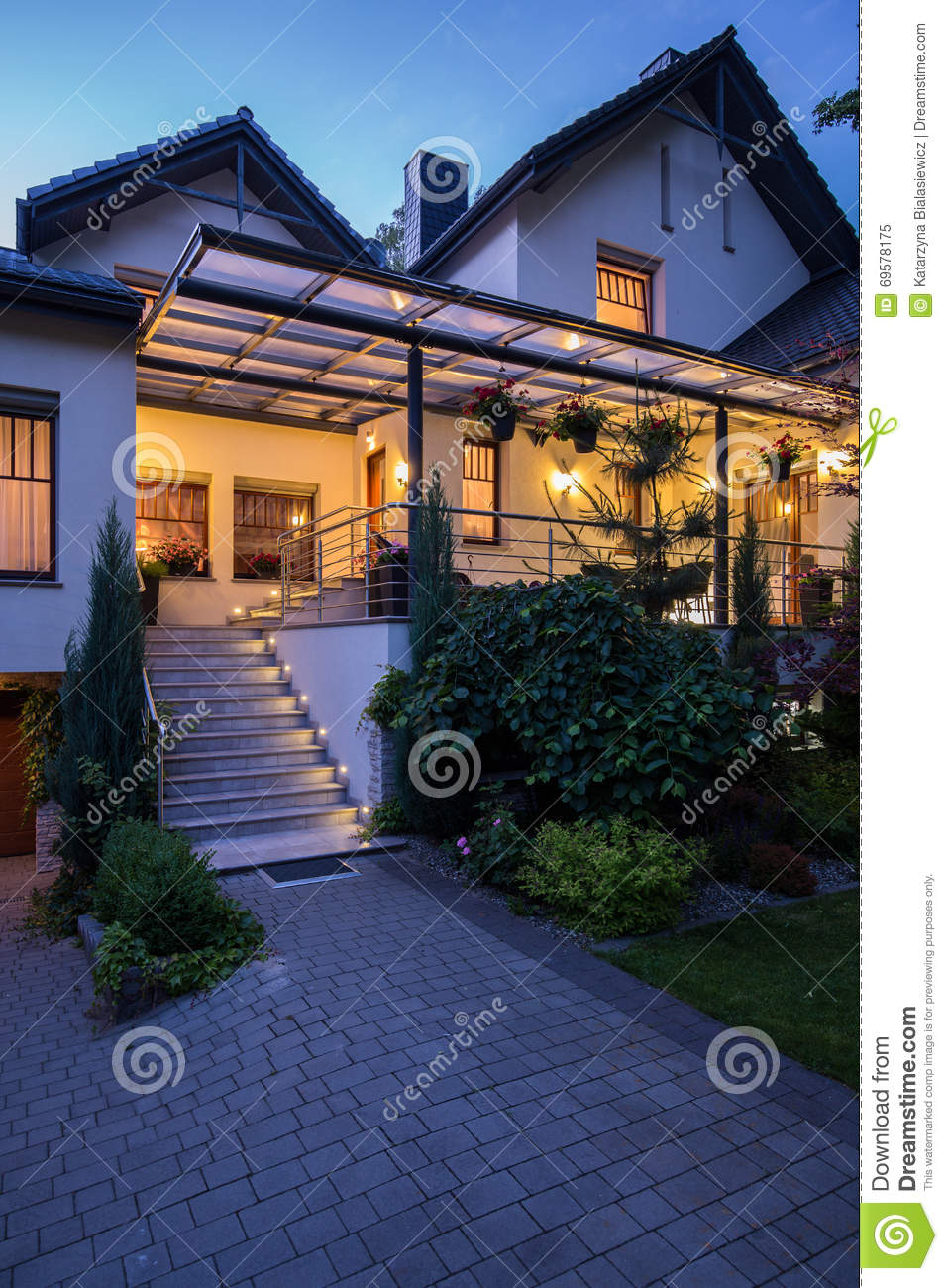 Beautifully illuminated terrace stock photo image 69578175 for Terrace white