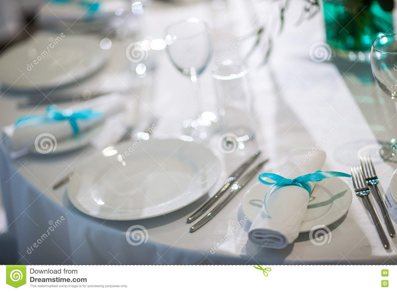 Beautifully organized event - served banquet tables ready for guests