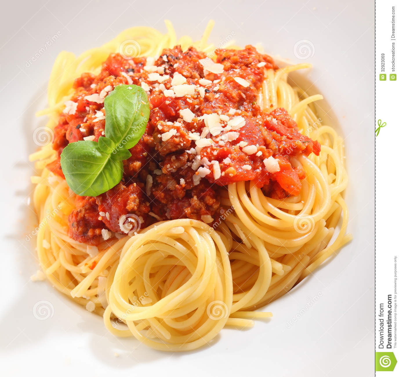Beautifully Presented Spaghetti Bolognaise Stock Image