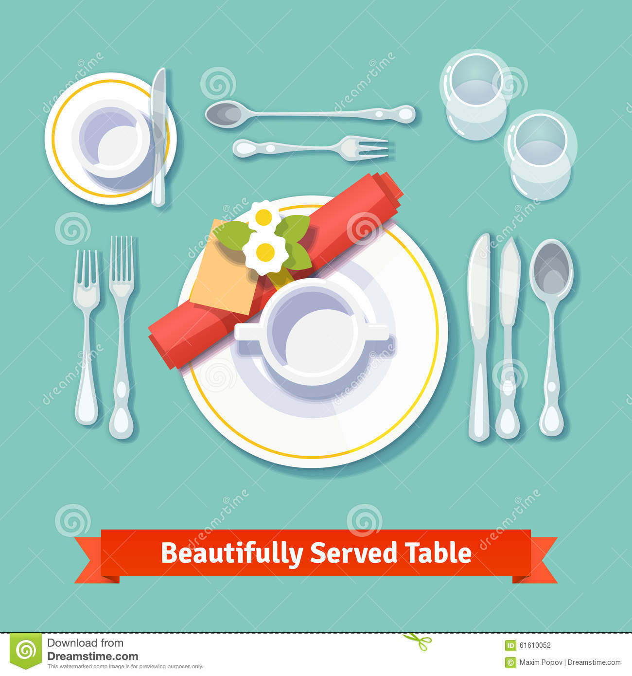 Illustration Of Table Setting Vector Illustration