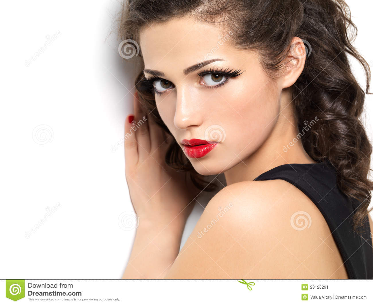 Beautiul Fashion Girl With Red Lips Stock Image Image