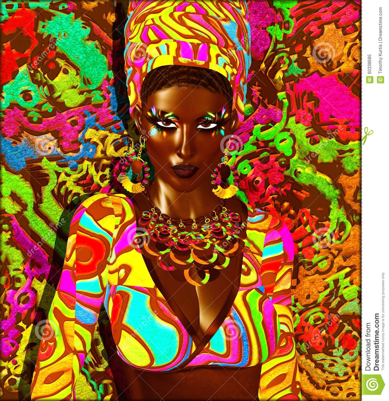 African American Wallpaper: Beauty Of Africa. Colorful Digital Art Scene Of A