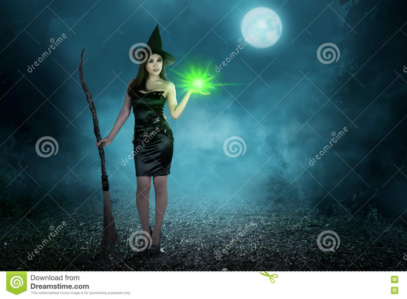 Beauty Asian Witch Woman With Magic Spell And Flying Broom Stock