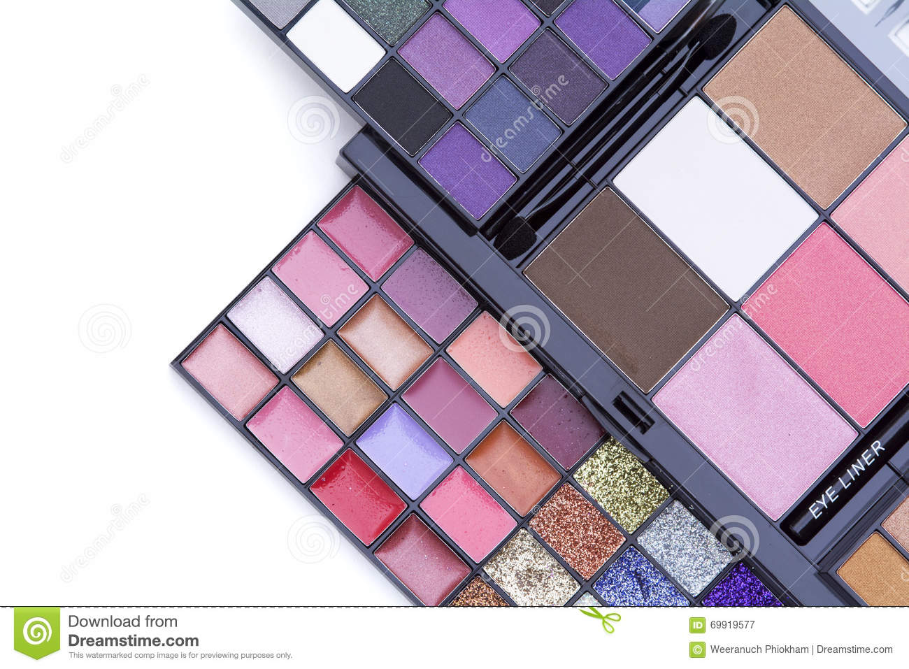Beauty backgrounds, top view of beautiful color makeup palette se.