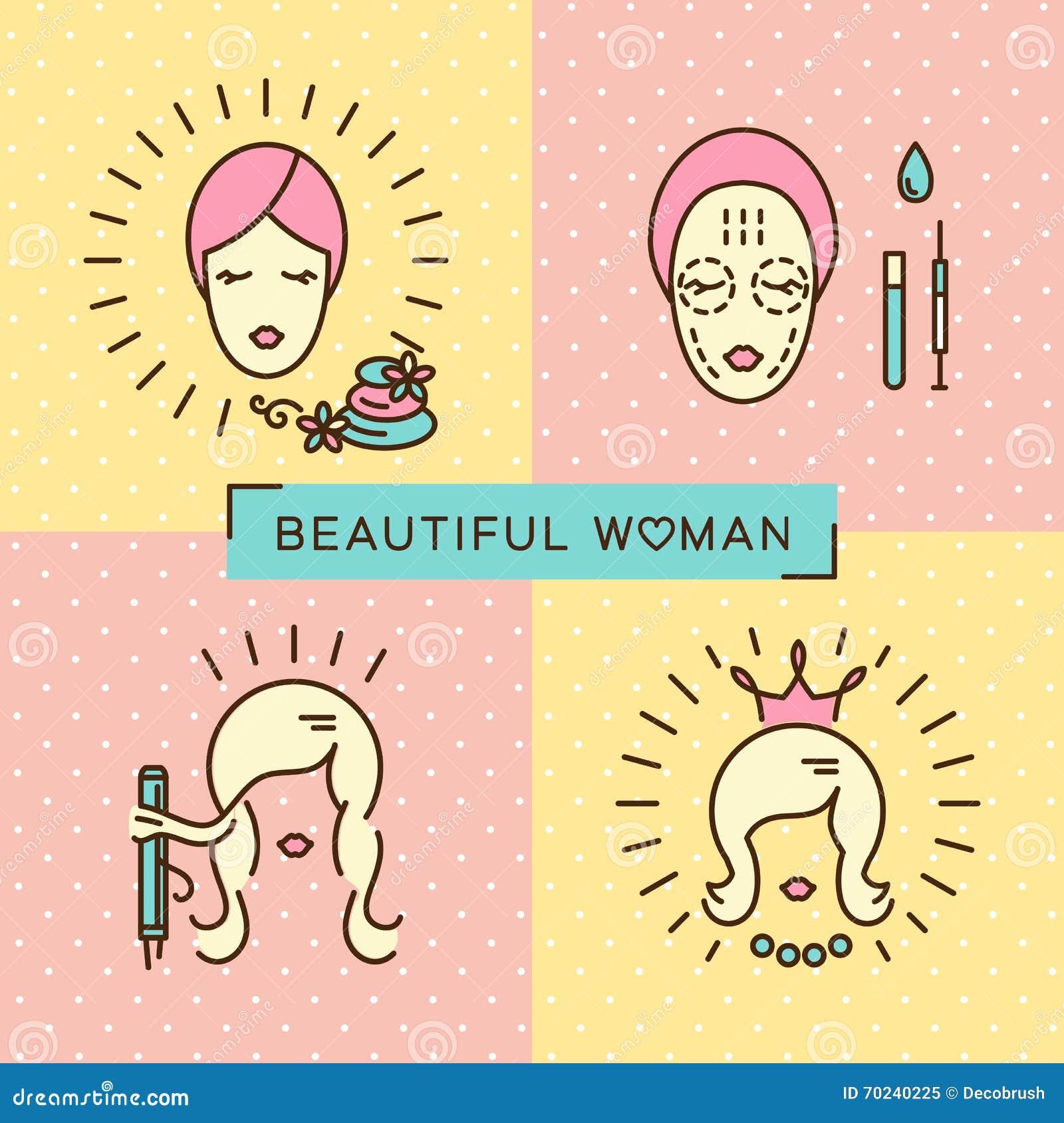Beauty Banner Beautiful Woman Set Line Icon Art Flat