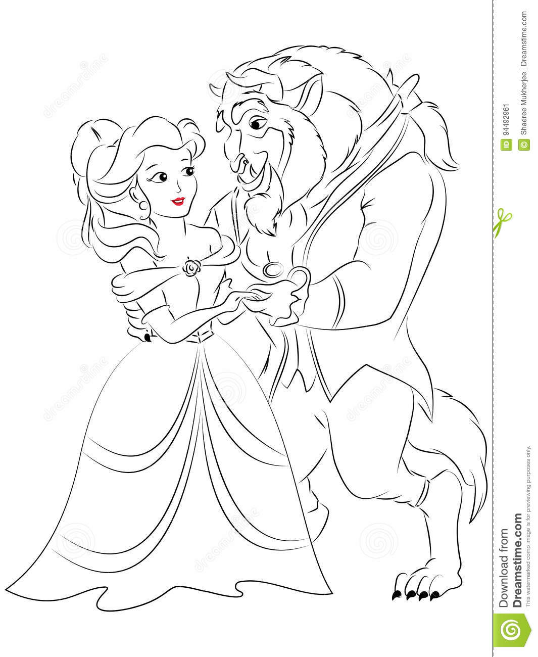 Beauty And The Beast Coloring Page Stock Illustration Illustration Of Belle Clipart 94492961