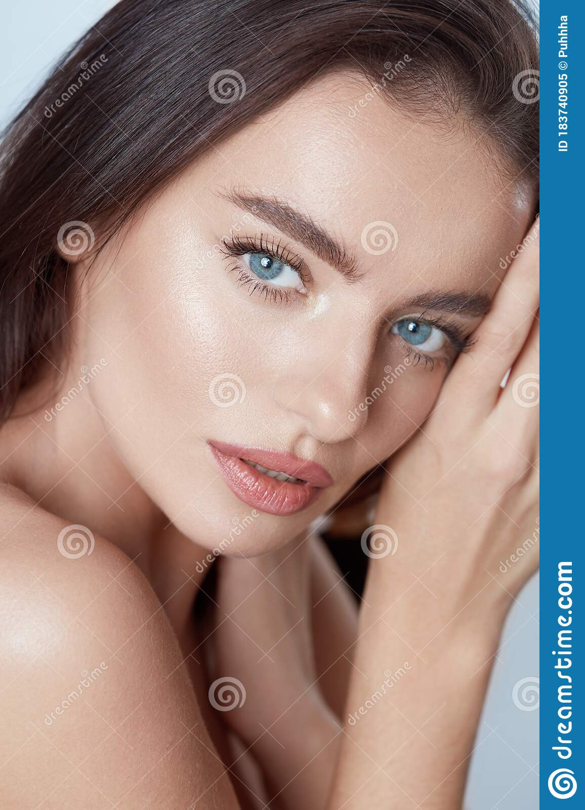 Beauty Beautiful Woman Close Up Portrait Young Blue Eyed Model With Perfect Skin And Natural Makeup Stock Image Image Of Brunette Indoor 183740905