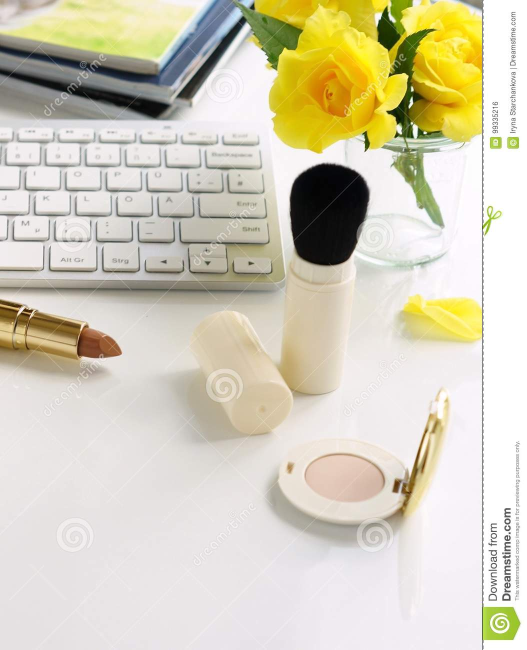 Beauty blog concept. Female make up accessories and roses