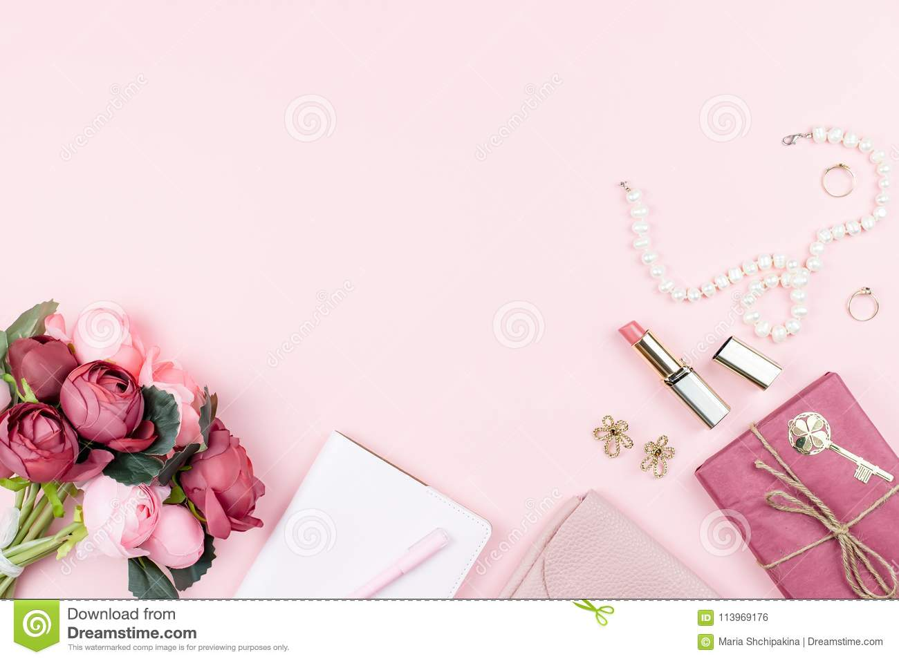Beauty Blog Concept Flat Lay. Fashion Accessories, Flowers