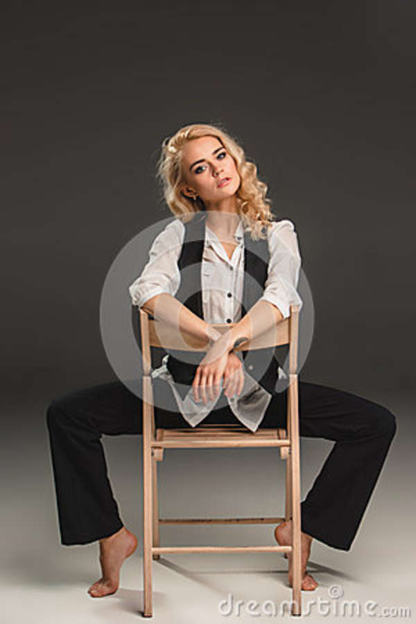 Beauty Blond Woman On Chair Stock Photo Image 51591173