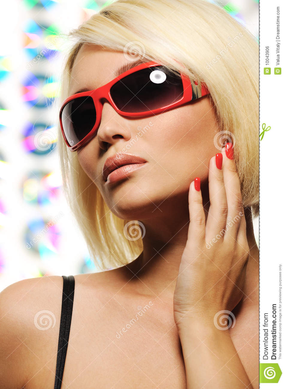 sunglasses fashion  Beauty Blond Woman In Red Fashion Sunglasses Royalty Free Stock ...